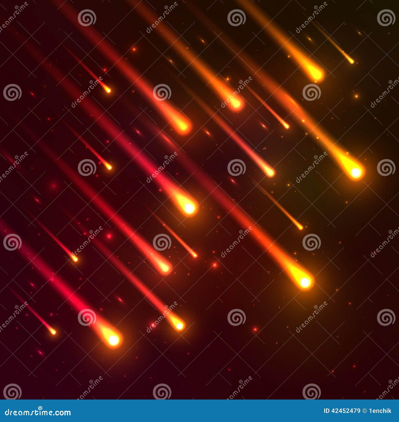 Roter fallender Meteorvektorhintergrund