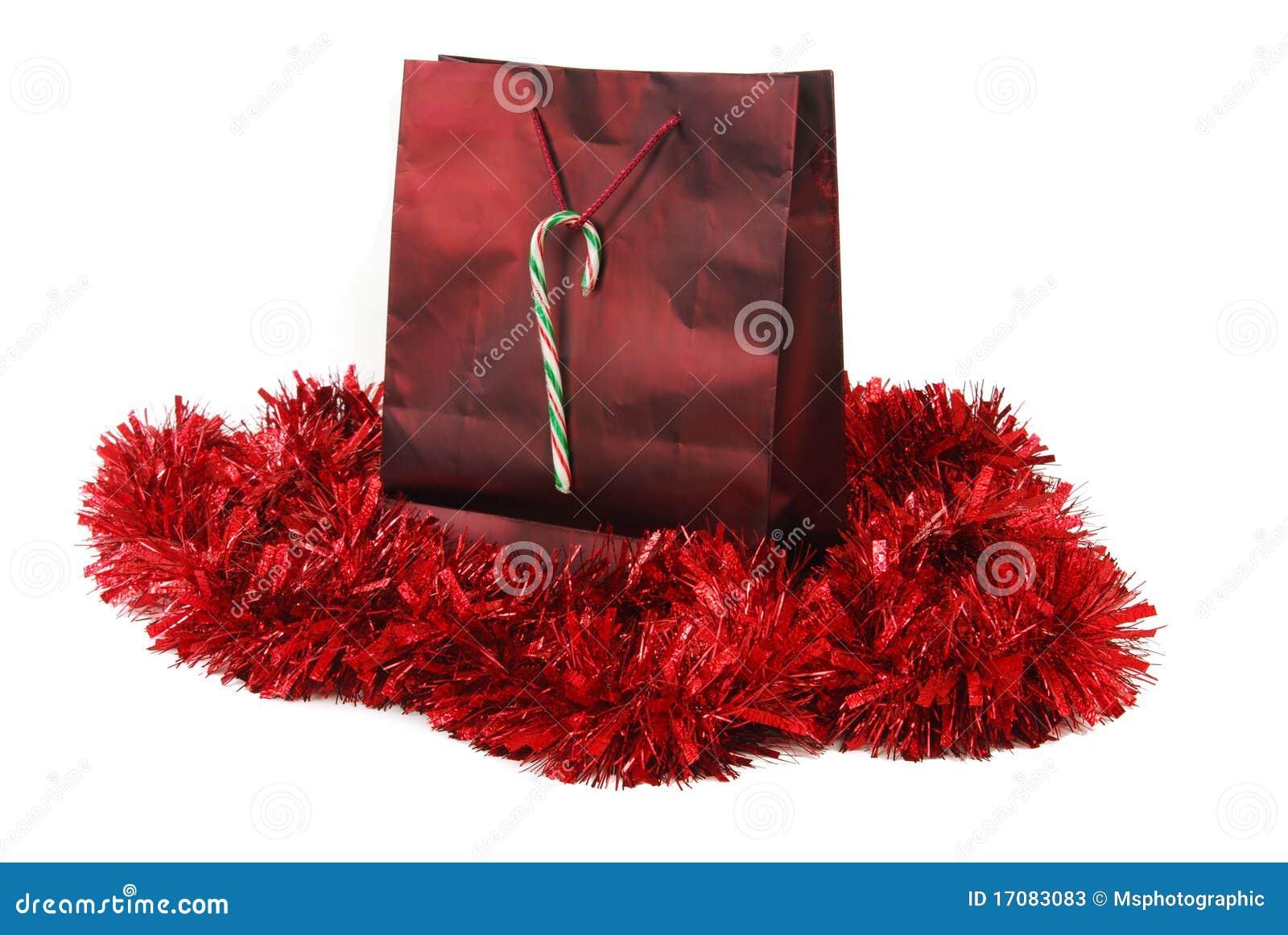 Roter Folie Weihnachtsbeutel