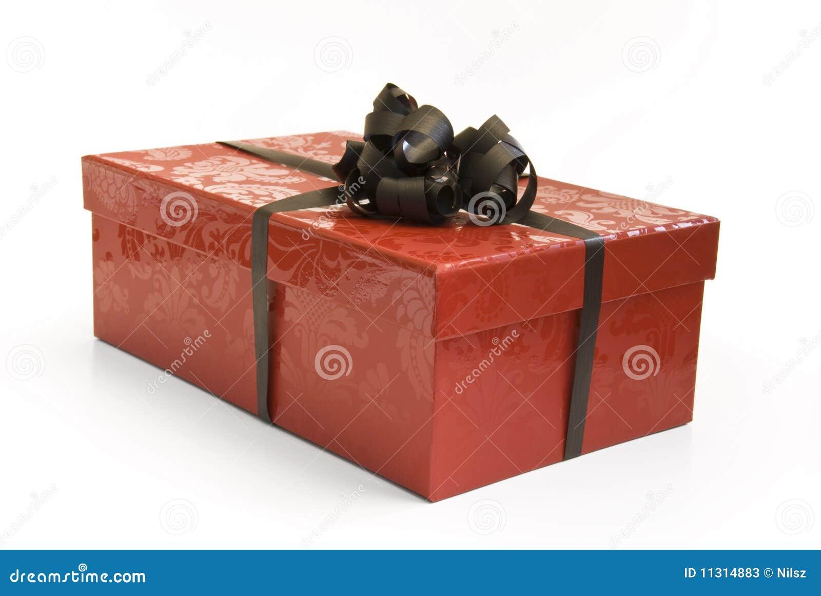 Roter Geschenkkasten mit Farbband
