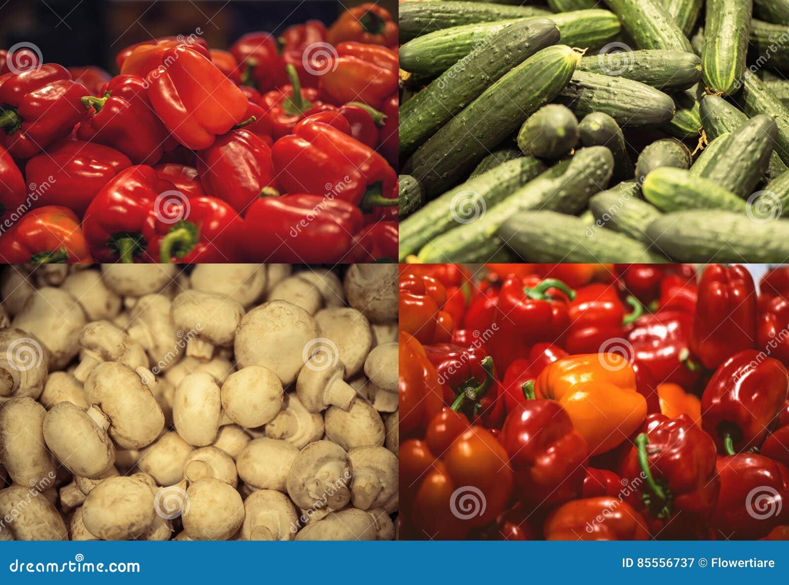 Roter grüner Pfeffer, Gurke und Champignonpilze im Supermarkt