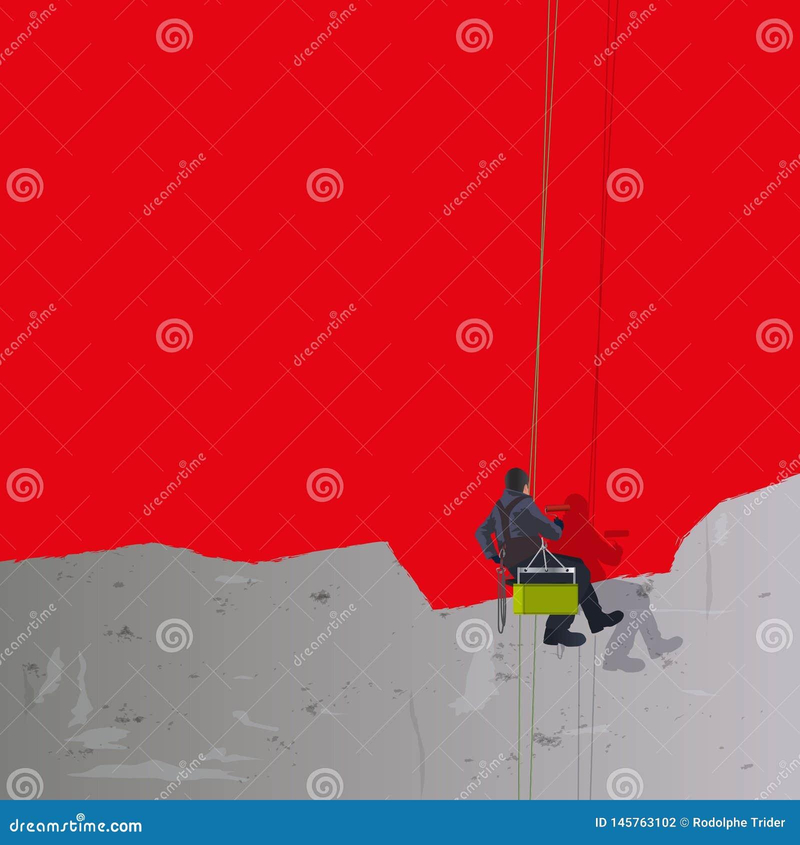 Roter Hintergrund mit einem Anstreicher, der eine Betonmauer neu streicht
