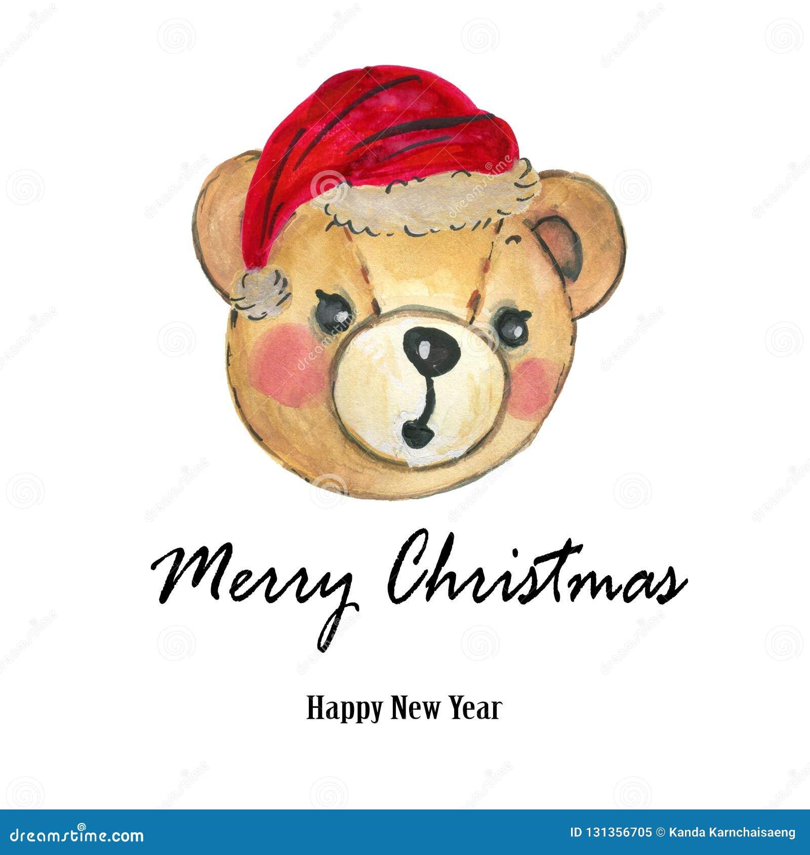 Roter Hut Teddy Bear Hand Aquarell-Santa Clauss malte