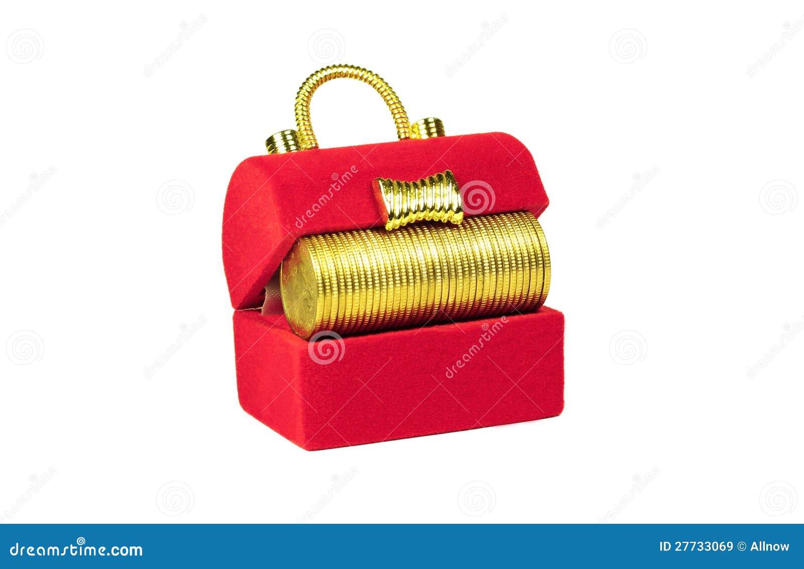Roter Kasten mit gelben Münzen nach innen