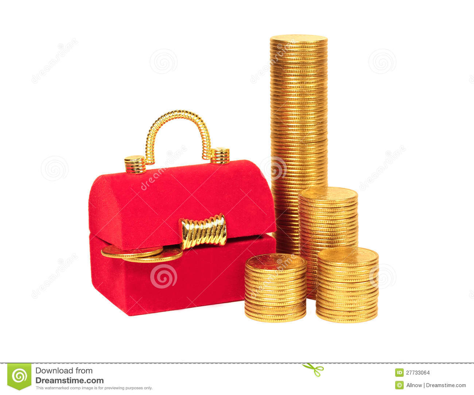 Roter Kasten und Spalten der gelben Münzen