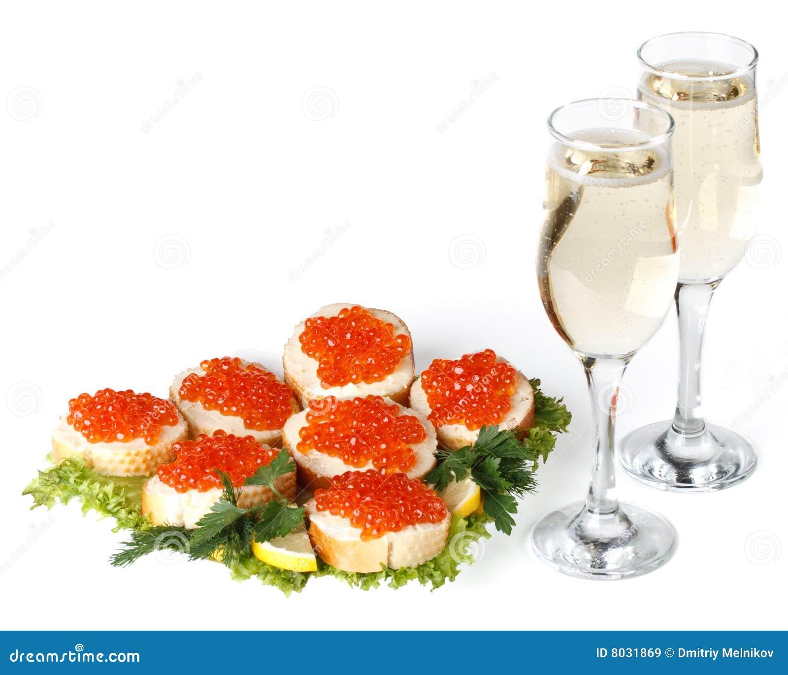 Roter Kaviar Und Champagner Lizenzfreie Stockbilder - Bild