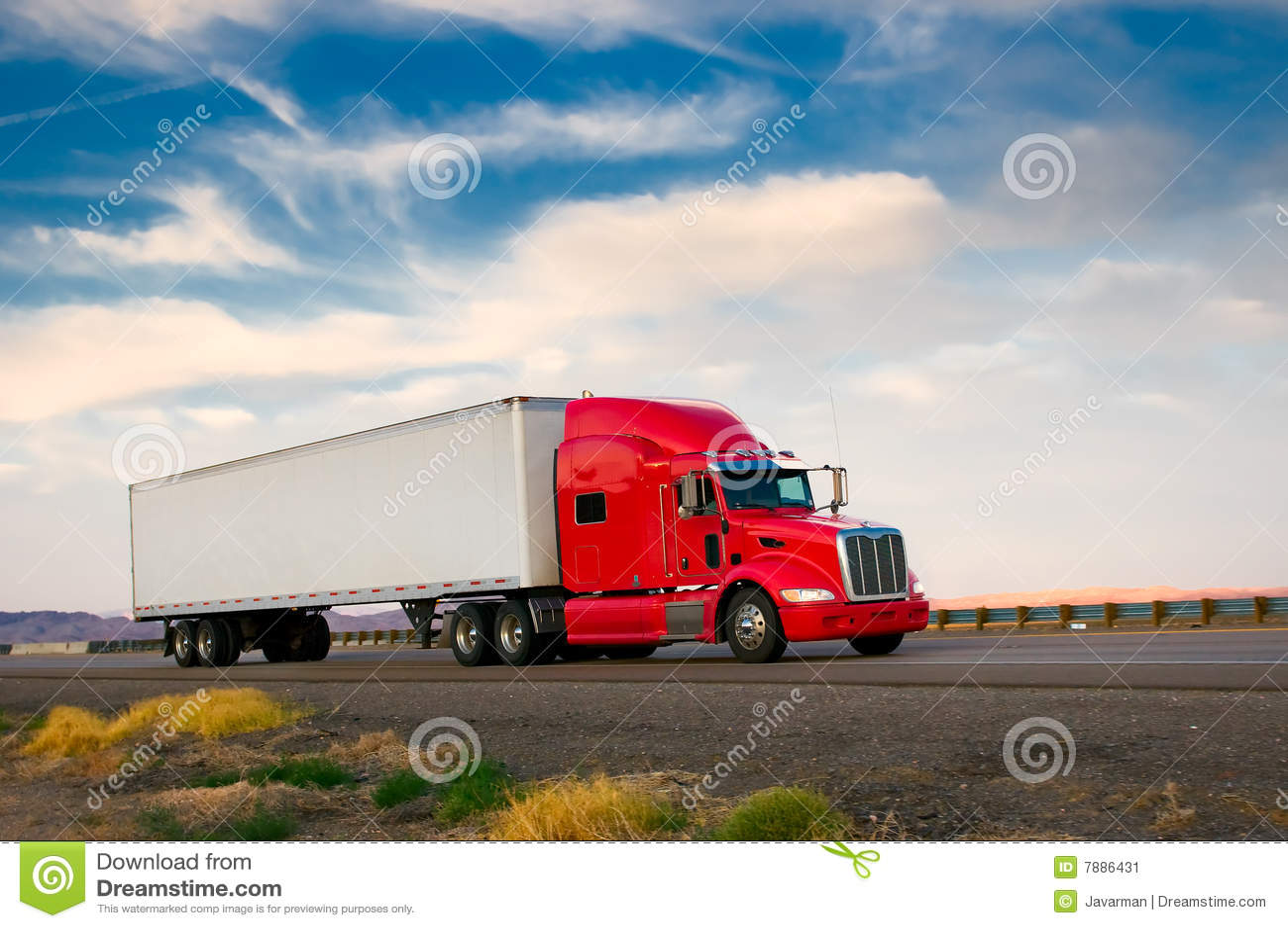 Roter LKW, der eine Datenbahn weitergeht