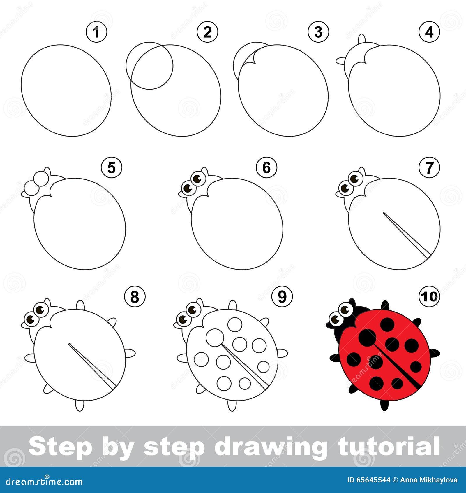 Roter marienk fer zeichnendes tutorium vektor abbildung - Dessiner une coccinelle ...