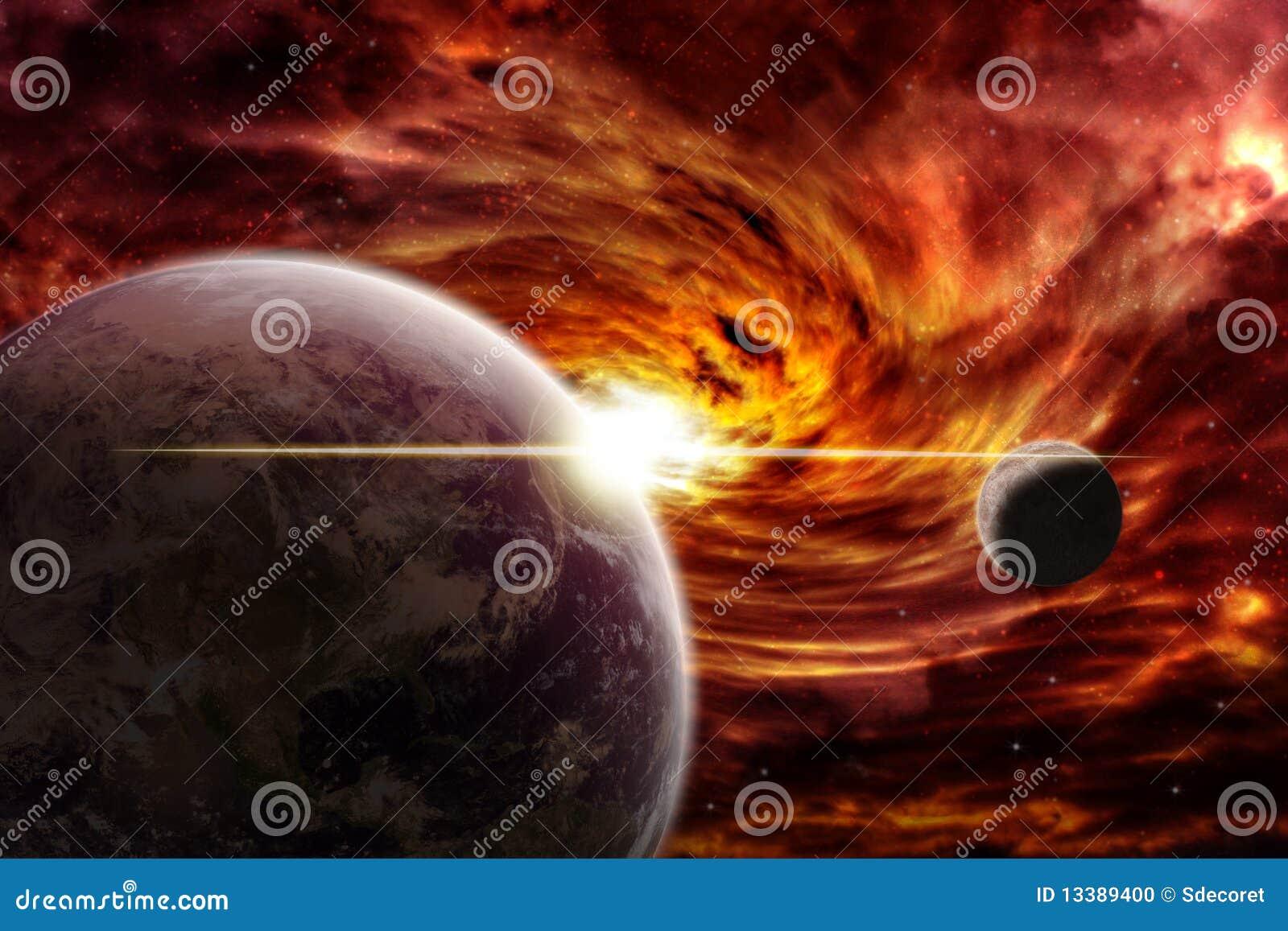 Roter Nebelfleck über der Planetenerde