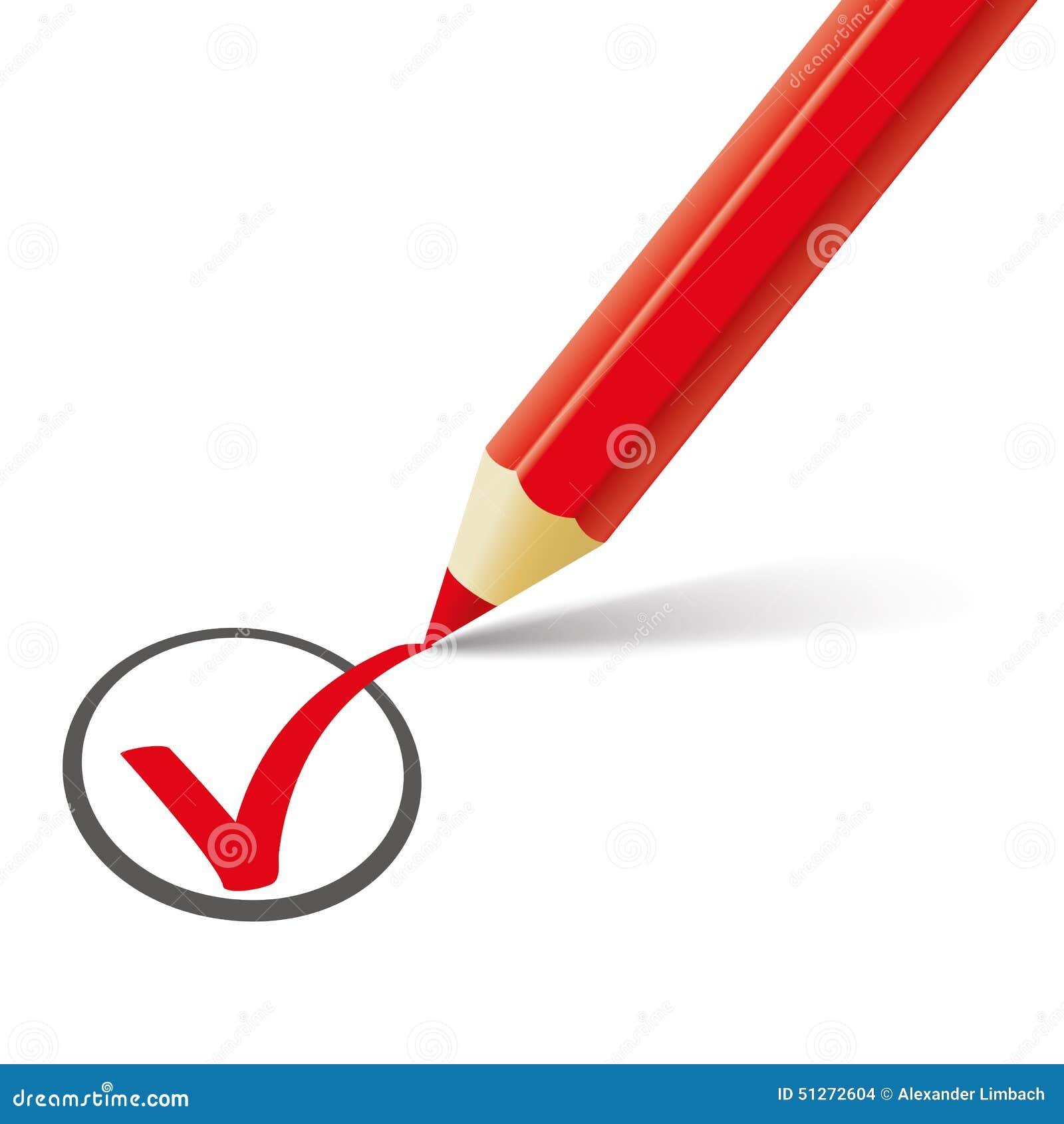 Roter Pen Red Tick Vektor Abbildung Illustration Von Bleistift