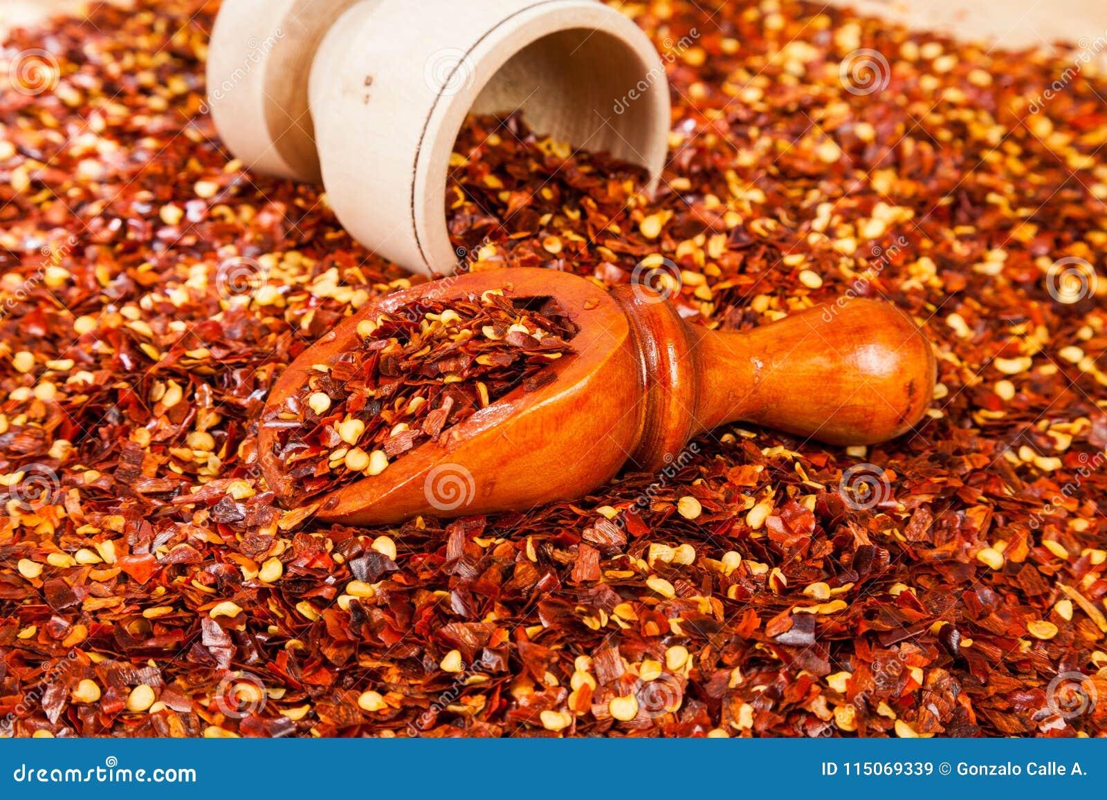 Roter Pfeffer oder Cayenne-Pfeffer zerquetscht