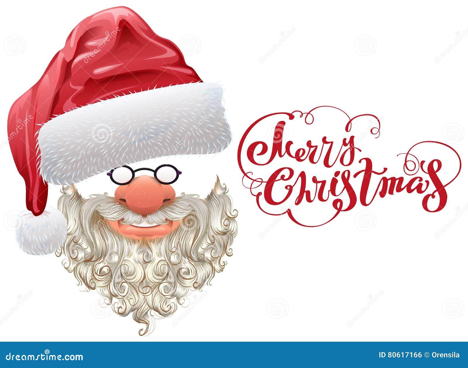 Roter Sankt-Hut, Bart Und Beschriftung Der Frohen Weihnachten Vektor ...