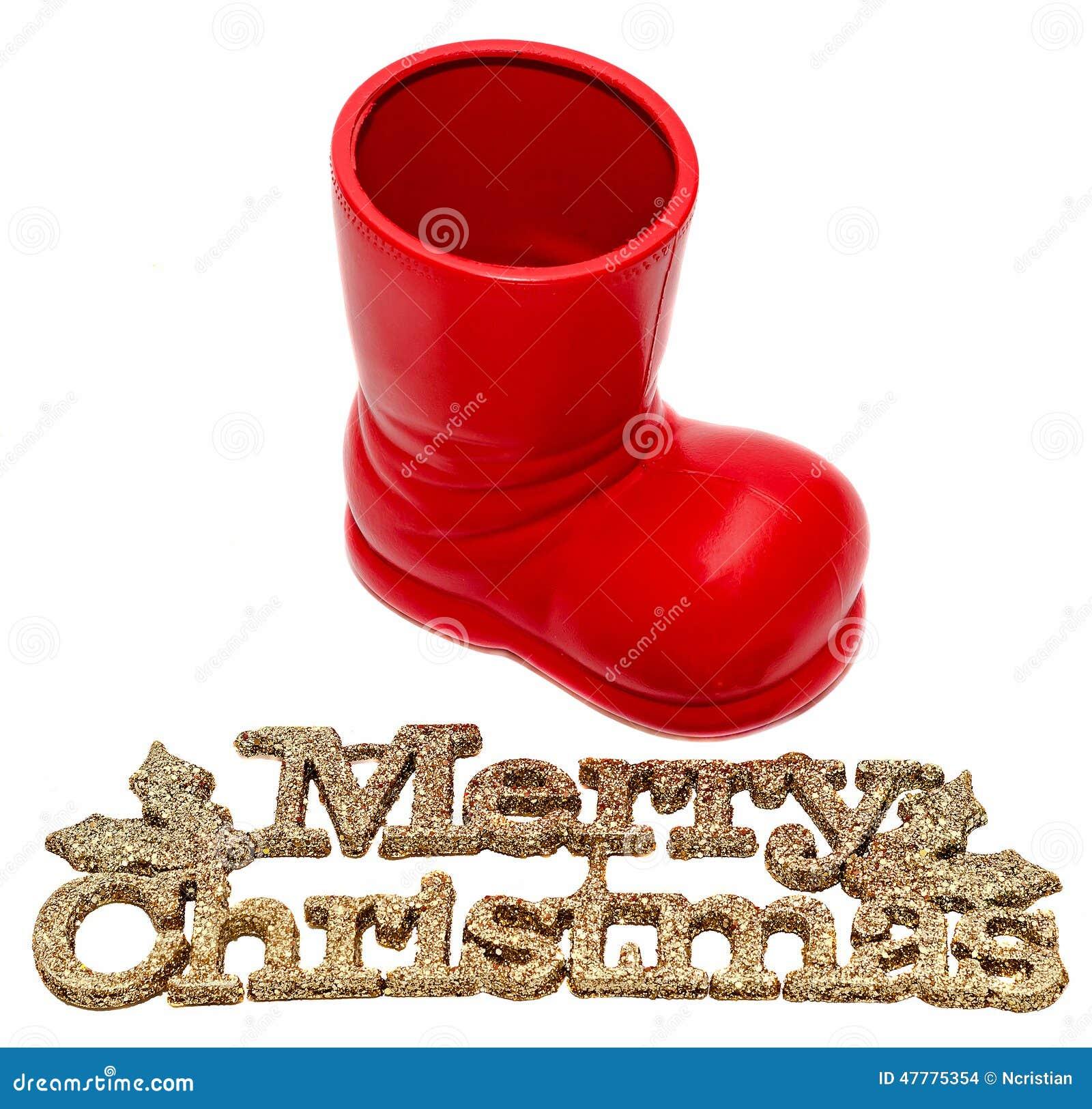 Roter Santa Claus-Stiefel, Schuh Mit Frohen Weihnachten Schreiben ...
