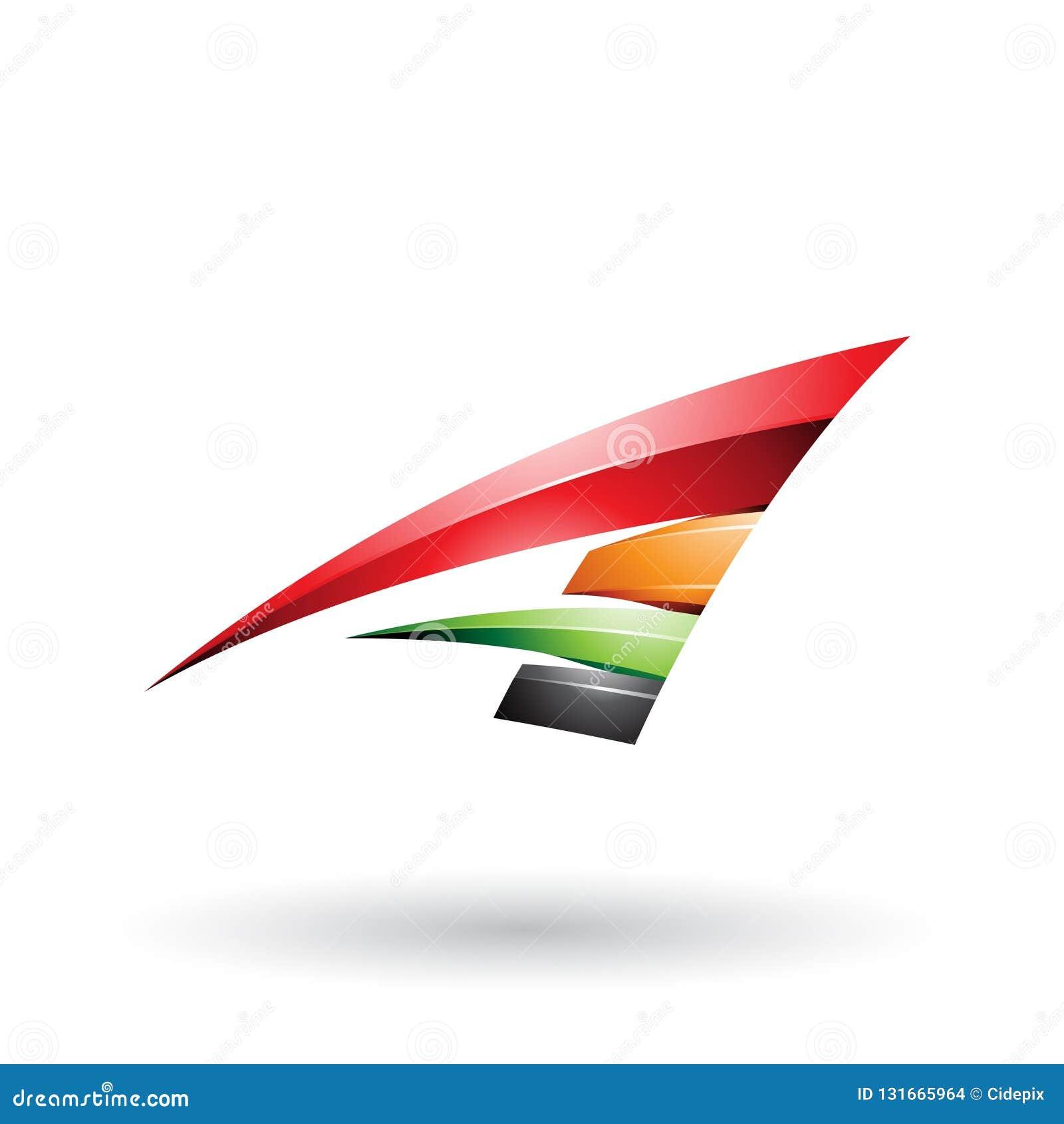 Roter schwarzer und orange dynamischer glatter fliegender Buchstabe A lokalisierte auf einem weißen Hintergrund