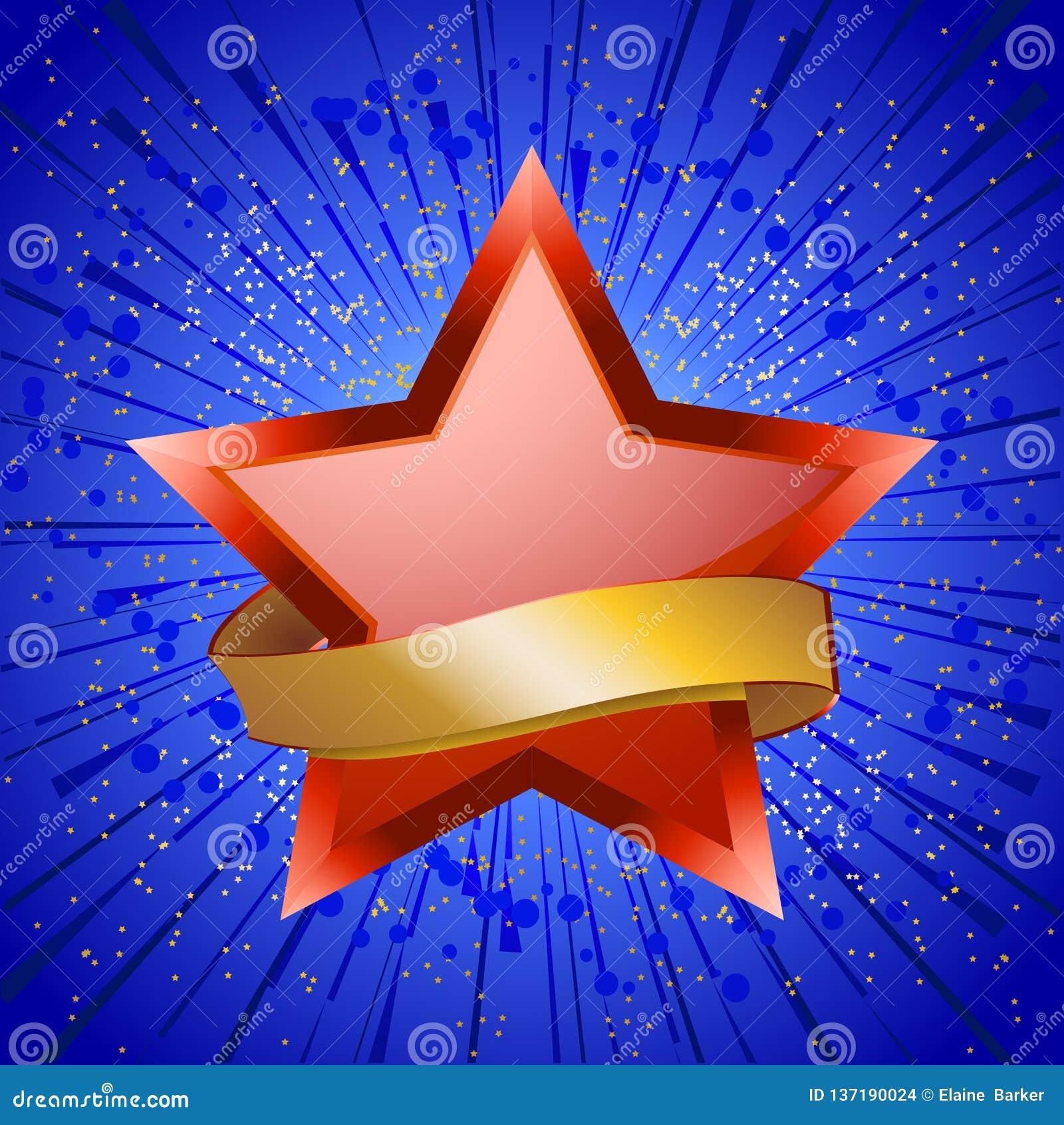 Roter Stern und goldene Fahne auf Explosion des blauen Sternes
