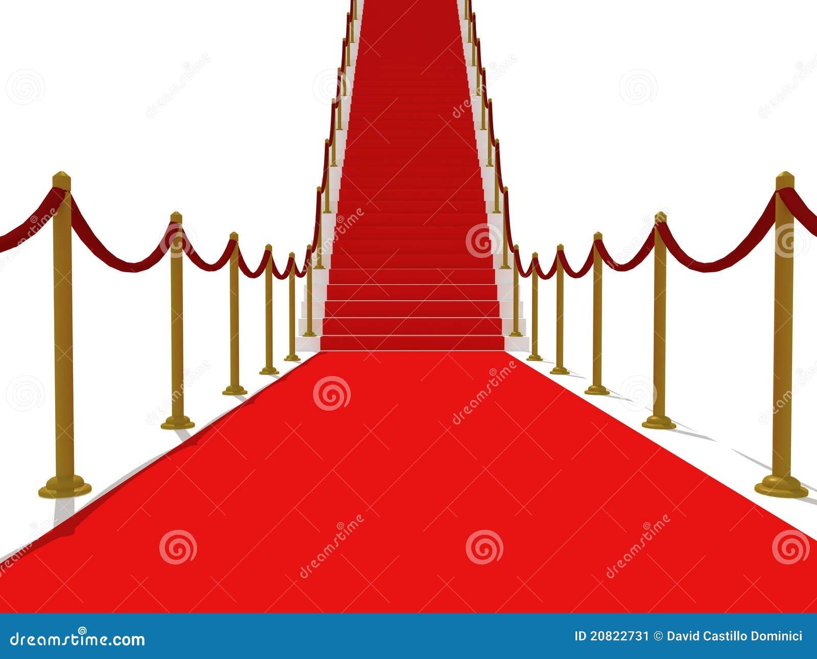 Roter TeppichTreppen  Treppenhaus Zum Ruhm Stockbild