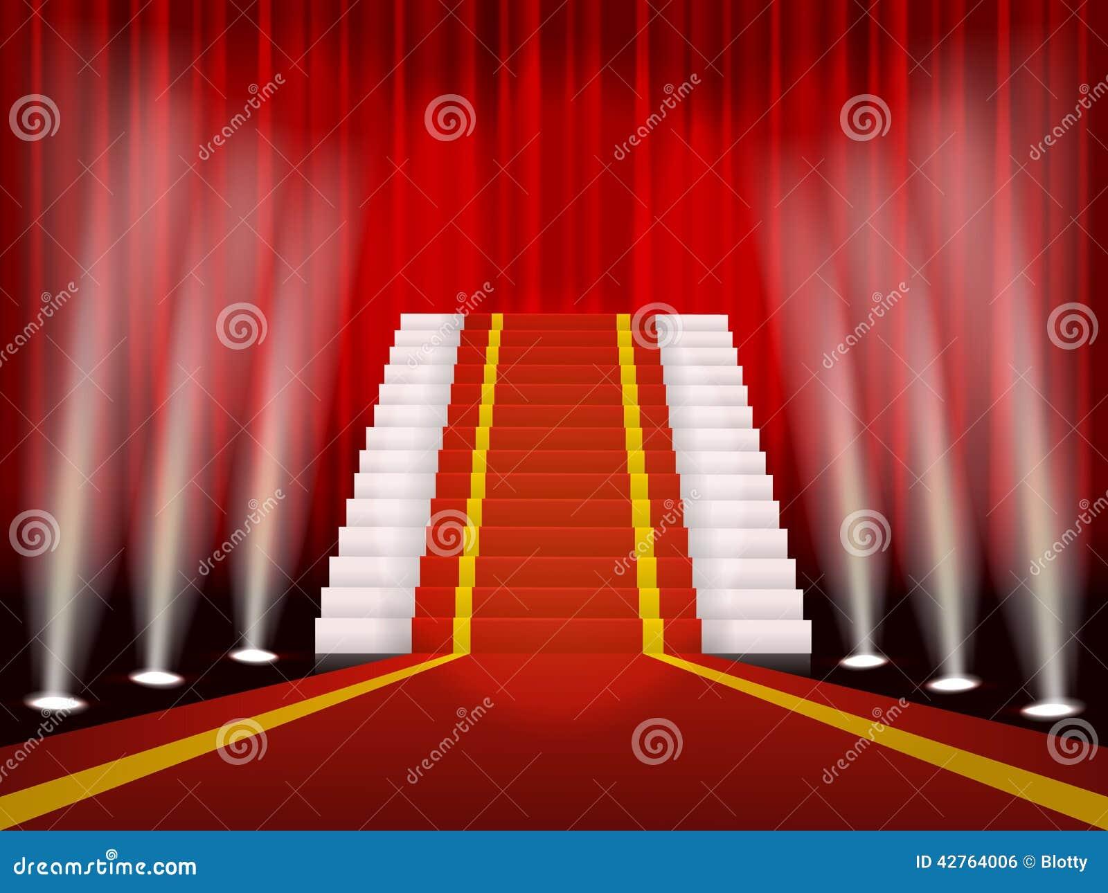 roter teppich und treppe f r befriedigende zeremonie vektor abbildung bild 42764006. Black Bedroom Furniture Sets. Home Design Ideas