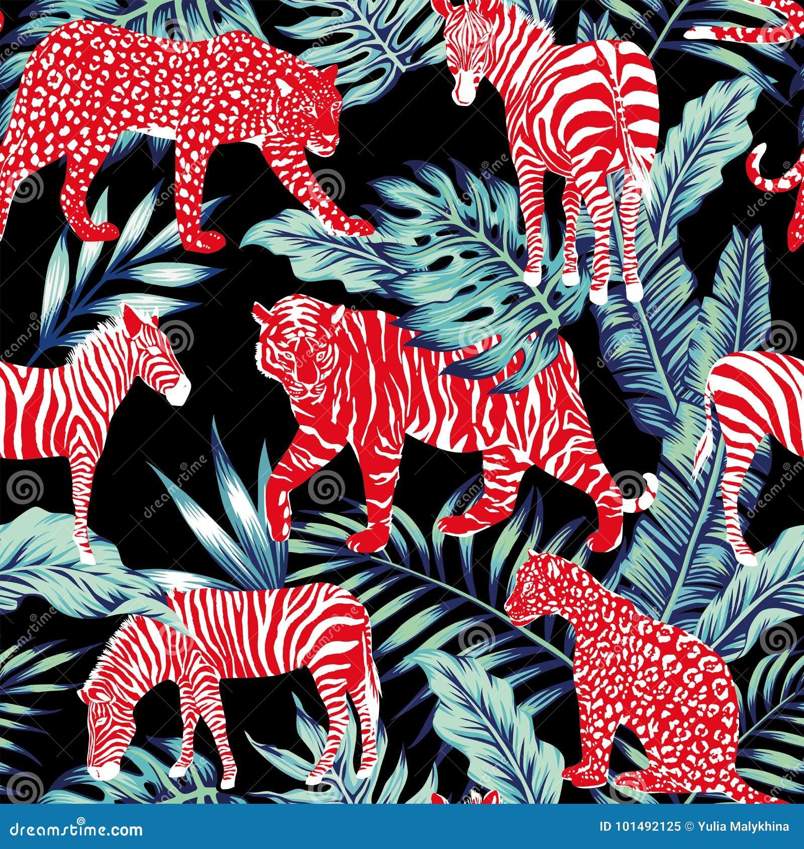 Roter tierischer blauer Dschungel
