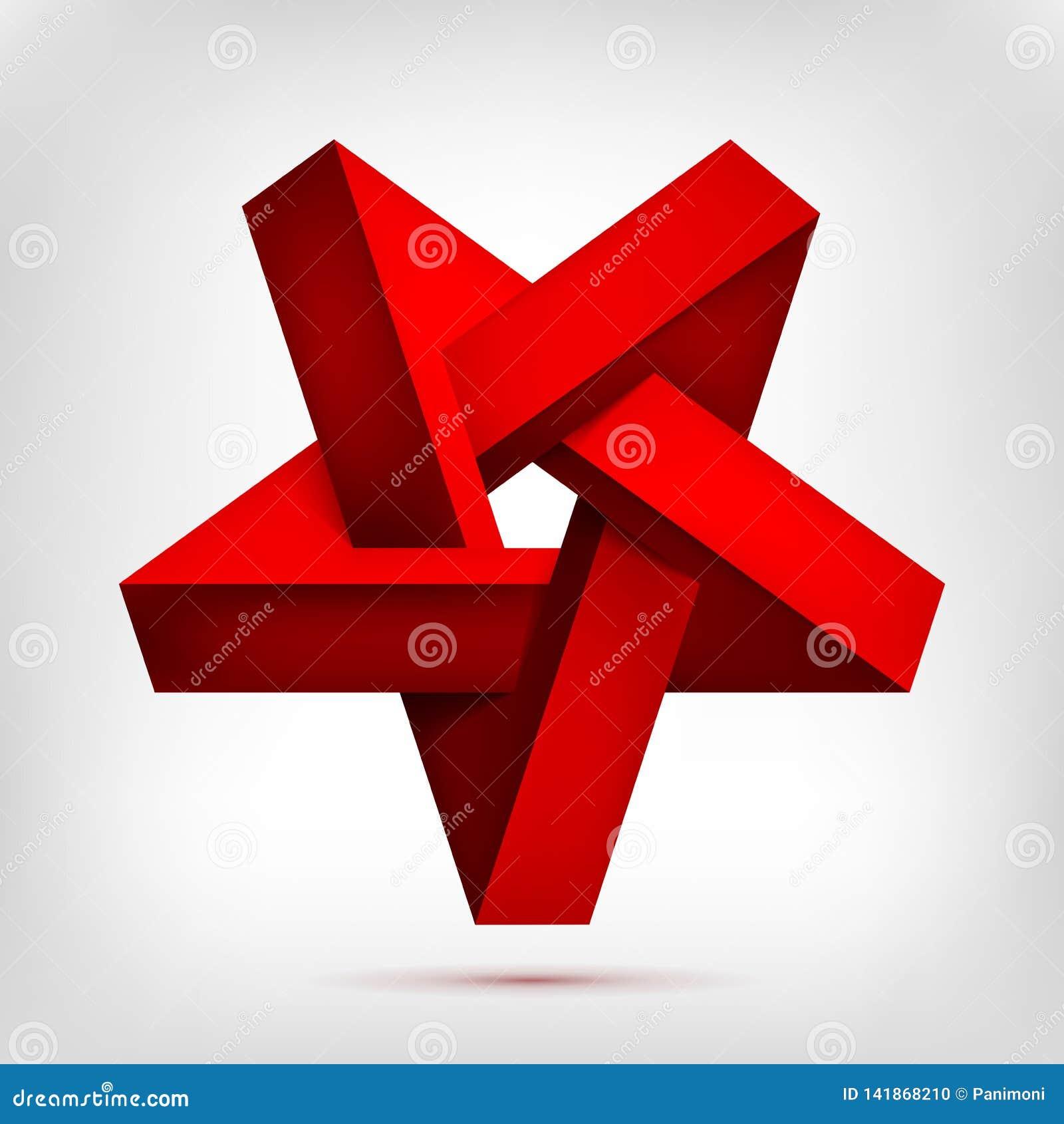 Roter umgekehrter Stern der fünfeckigen Illusion Fünf-spitze unwirkliche Form, nicht vorhandener Geometriegegenstand, abstrakter