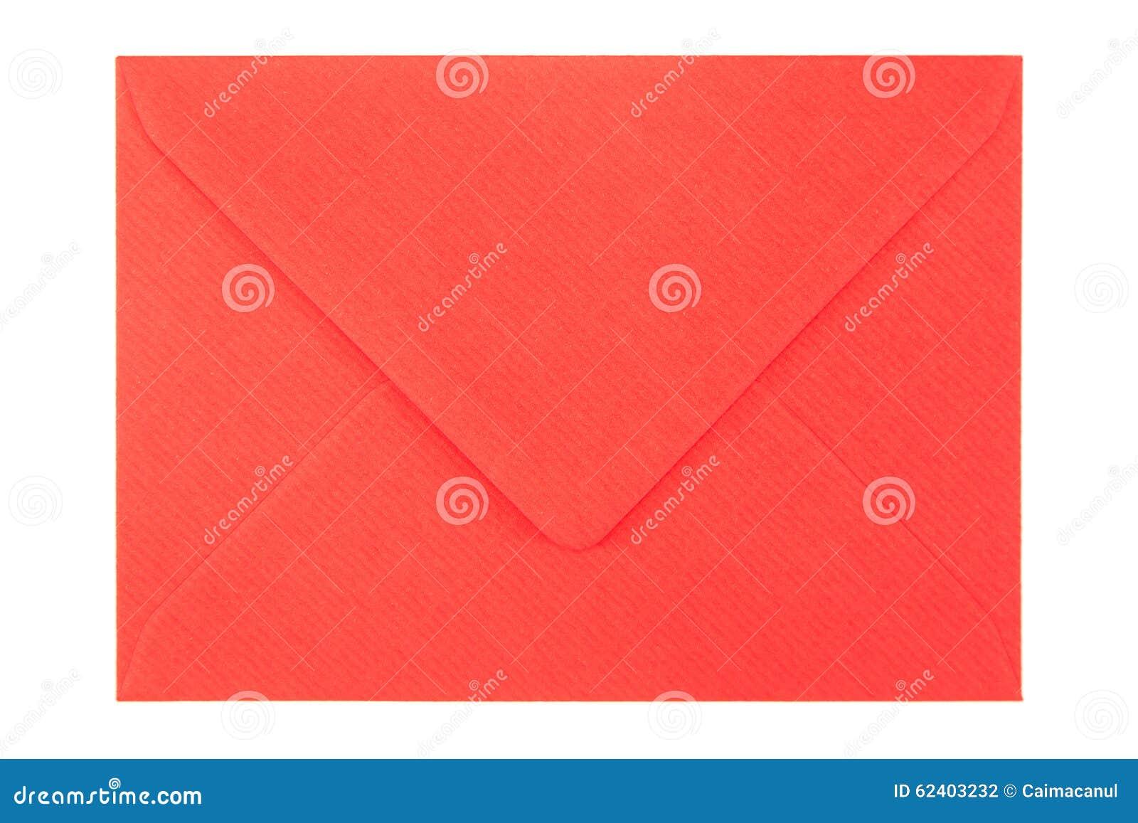 1c59abd7c57 Geschlossener roter Umschlag lokalisiert auf weißem Hintergrund
