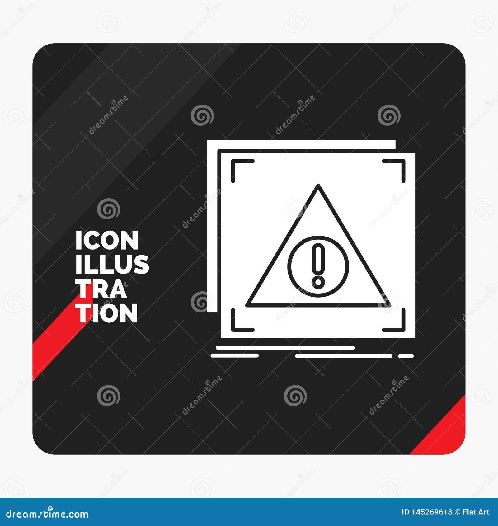 Roter und schwarzer kreativer Darstellung Hintergrund für Fehler, Anwendung, verweigert, Server, wachsame Glyph-Ikone