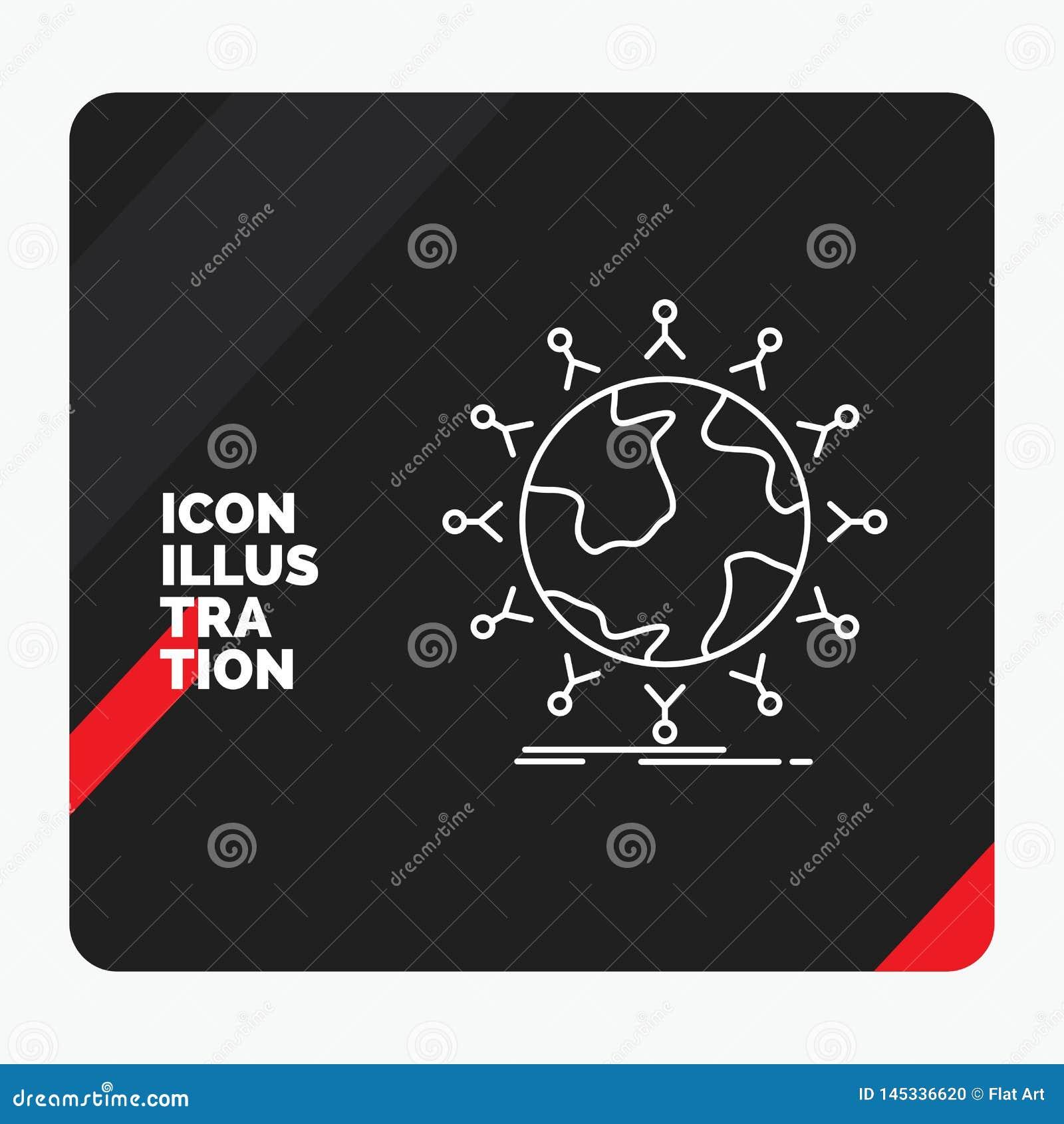 Roter und schwarzer kreativer Darstellung Hintergrund für globales, Student, Netz, Kugel, Kinder zeichnen Ikone
