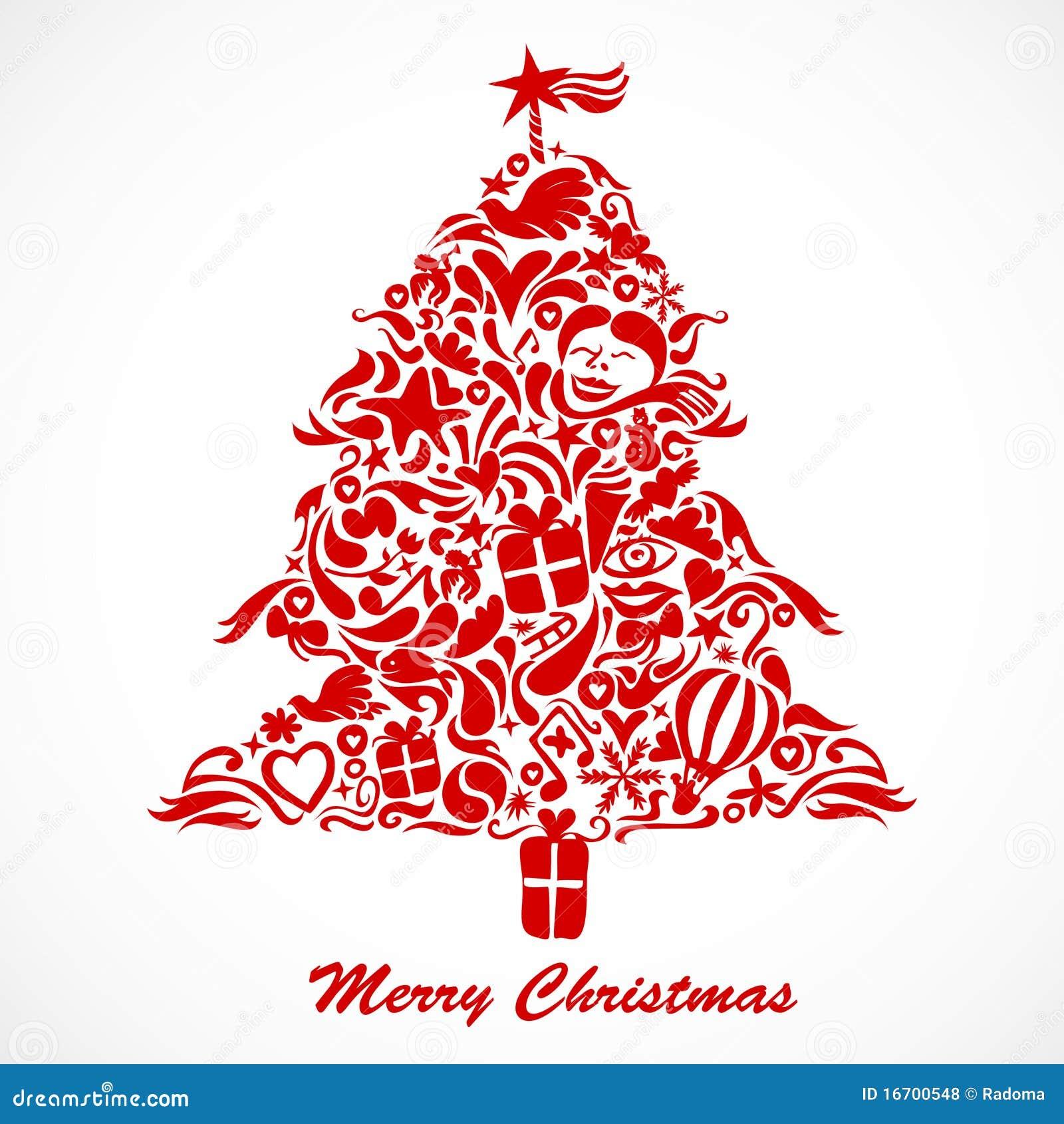 roter weihnachtsbaum vektor abbildung illustration von. Black Bedroom Furniture Sets. Home Design Ideas
