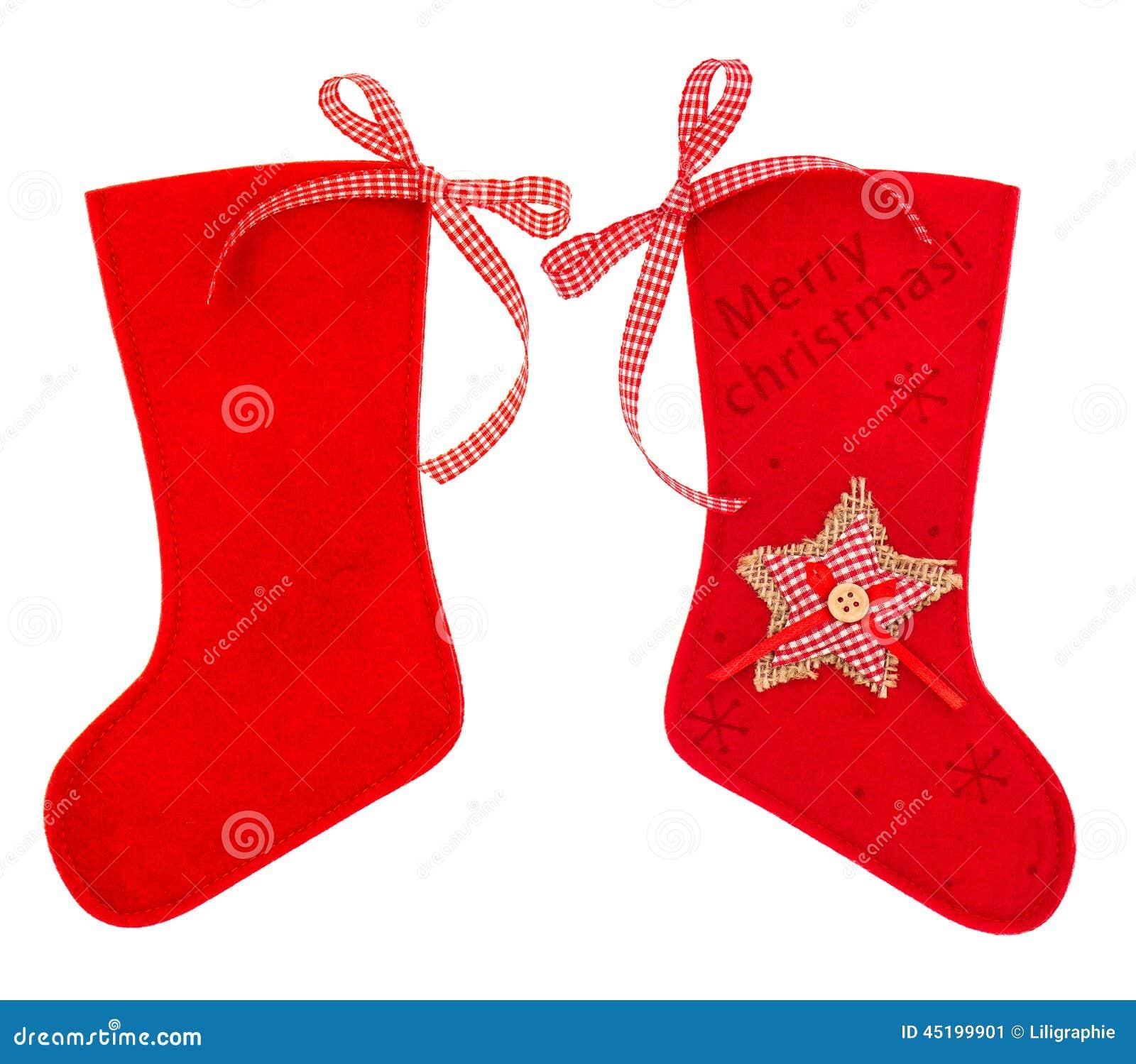 Roter Weihnachtsstrumpf Für Sankt-Geschenke Stockbild - Bild von ...