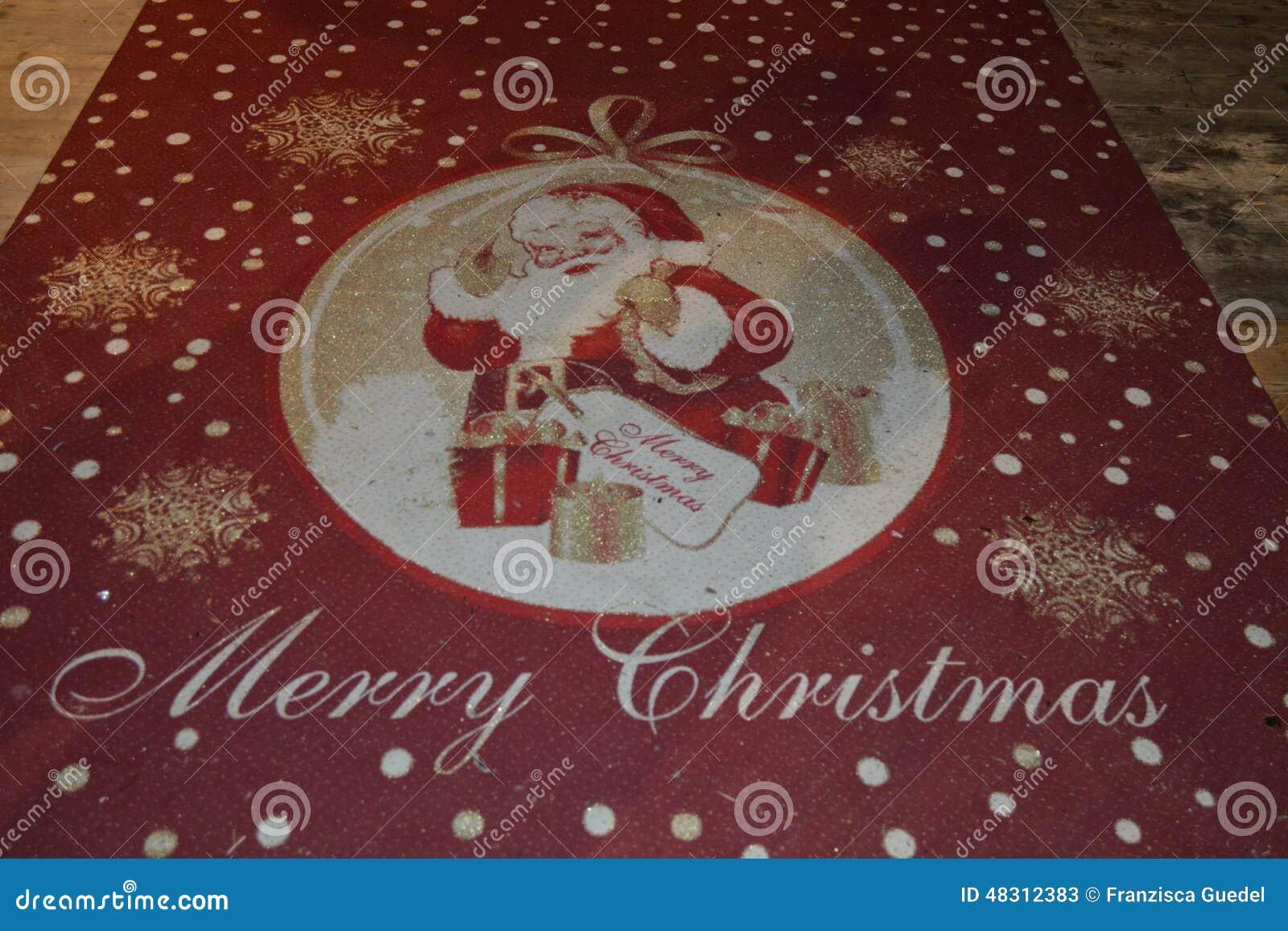 Roter Weihnachtsteppich Mit Weihnachtsmann Stockbild - Bild von ...