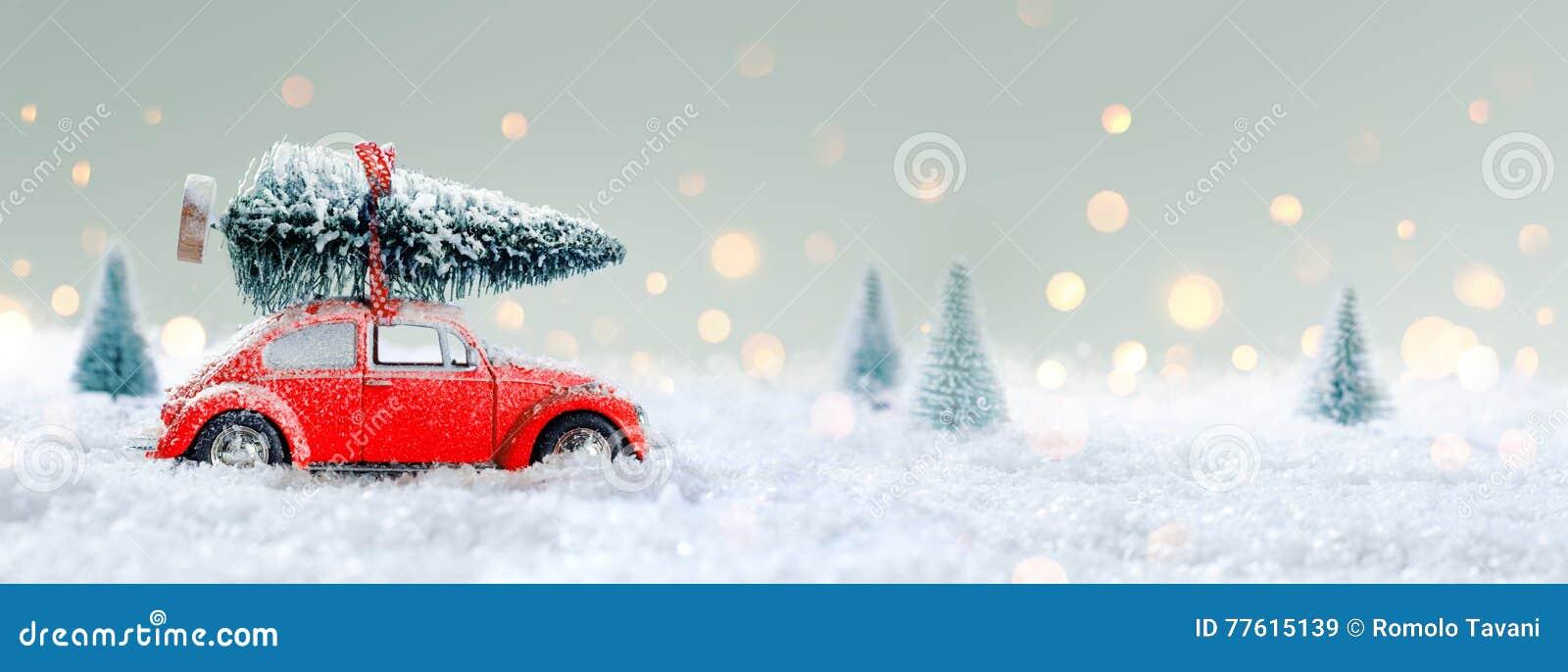 Rotes Auto, das einen Weihnachtsbaum transportiert