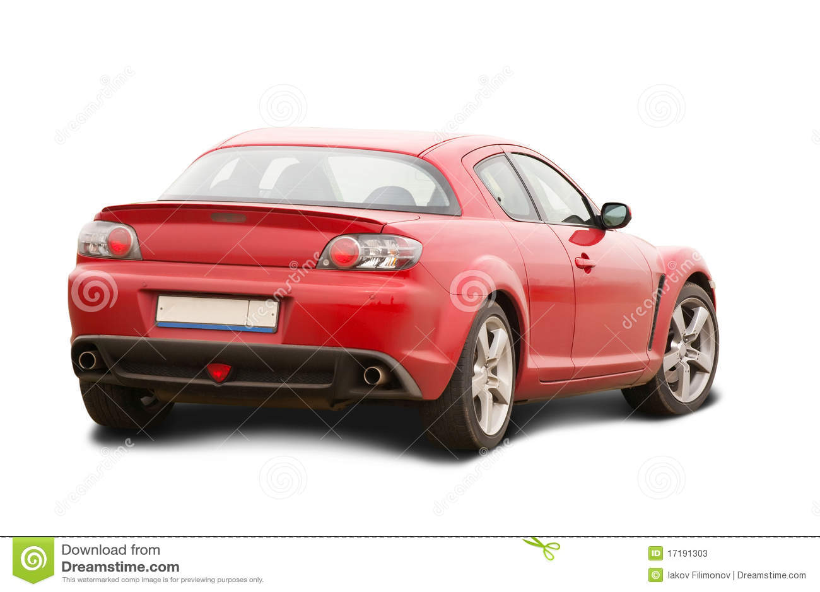 Rotes Automobil auf Weiß