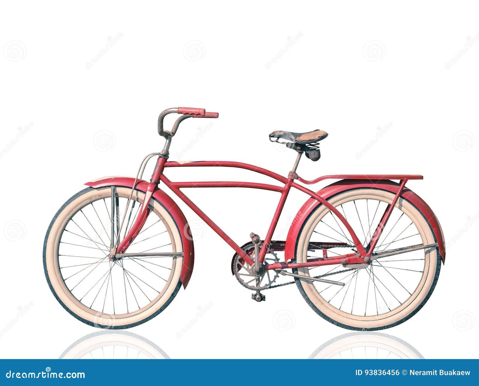 Rotes Fahrrad Der Retro- Weinlese Lokalisiert Auf Weißem Hintergrund ...