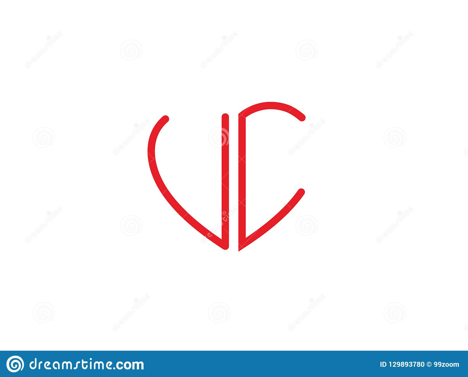 Rotes farbiges Liebeslogo UC-der Anfangsherzform