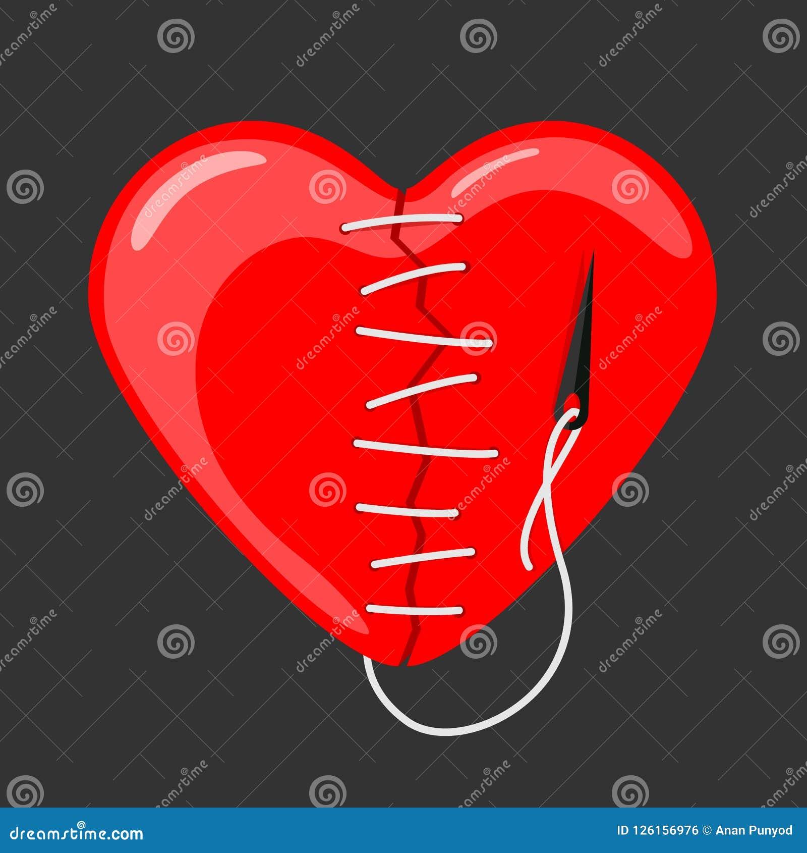 Rotes Herz gebrochen genäht mit Nadel- und Threadvektordesign