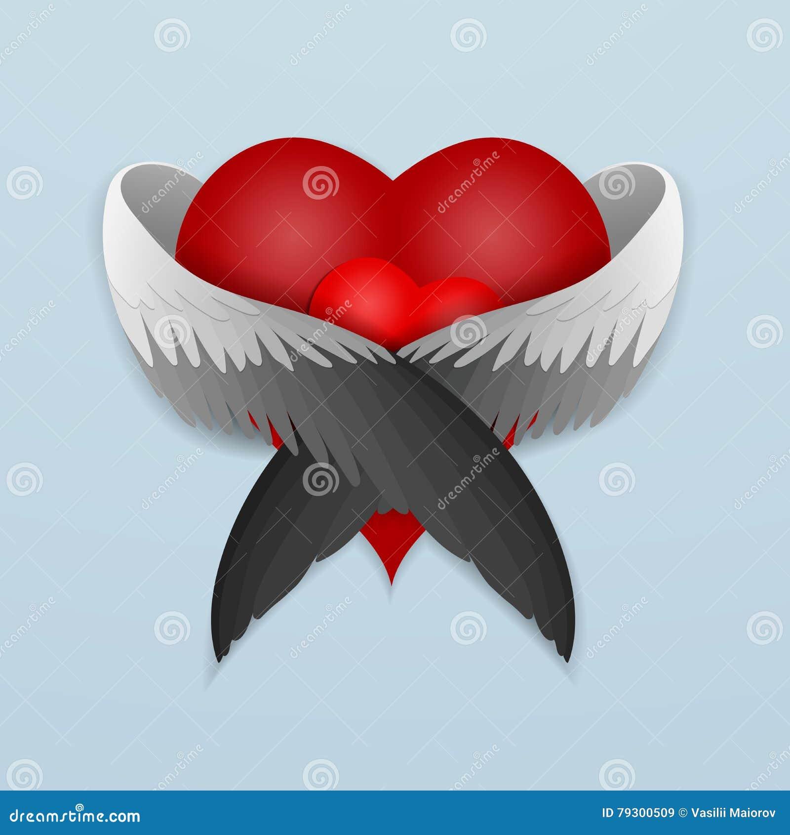 Rotes Herz mit den liebevoll umarmenden Flügeln