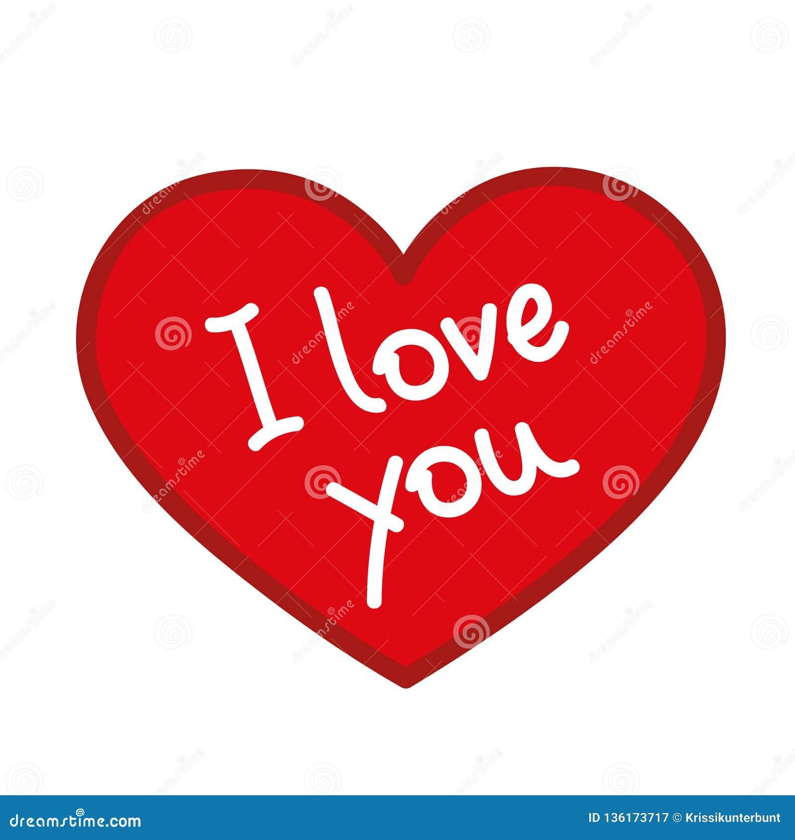Rotes Herz Mit Ich Liebe Dich Text Vektor Abbildung