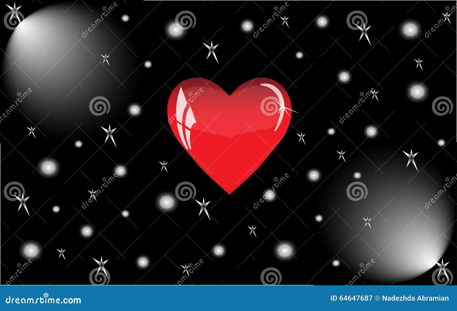 Rotes Herz mit Reflexionen auf einem schwarzen Hintergrund