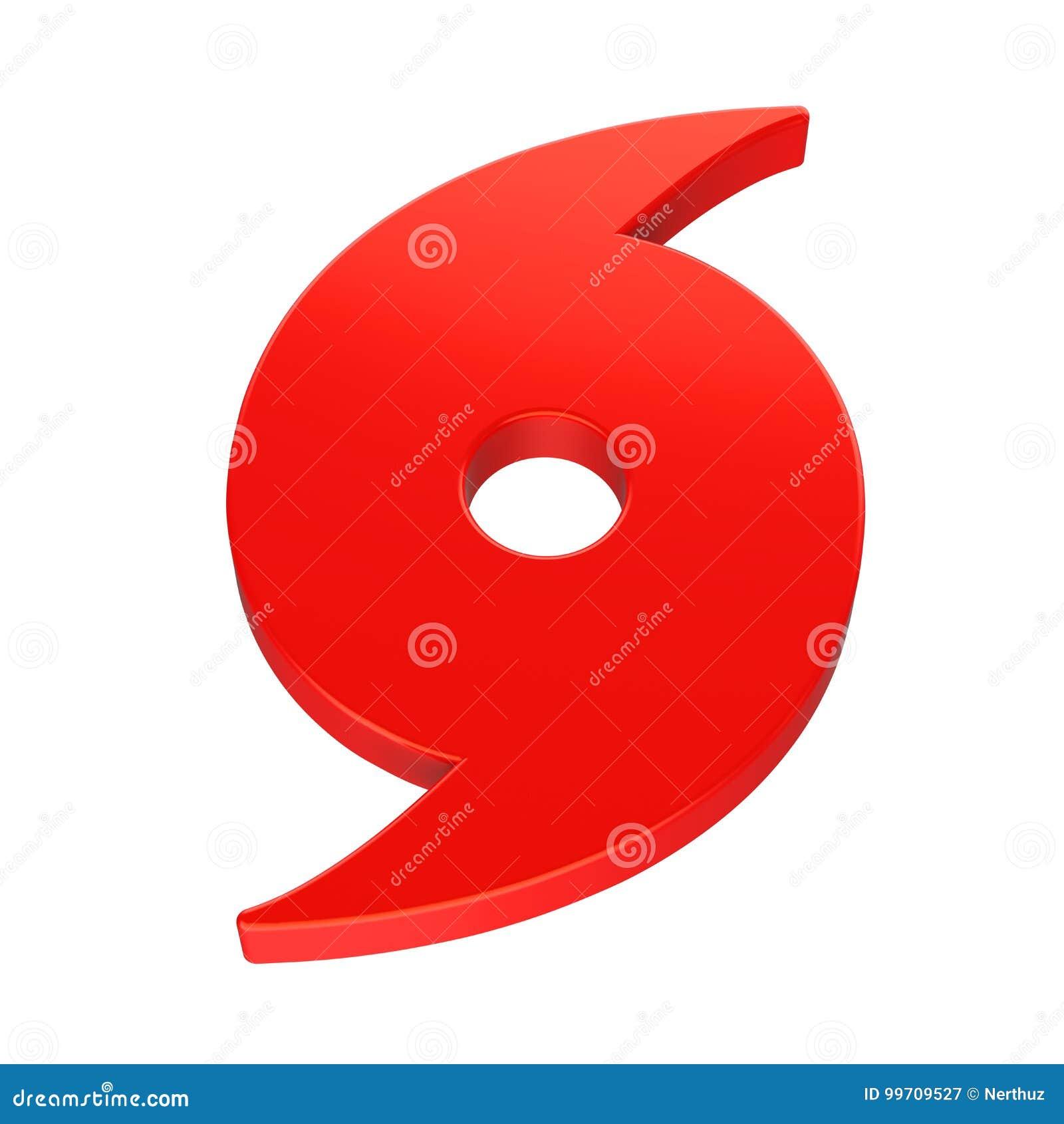 Rotes Hurrikan-Symbol lokalisiert