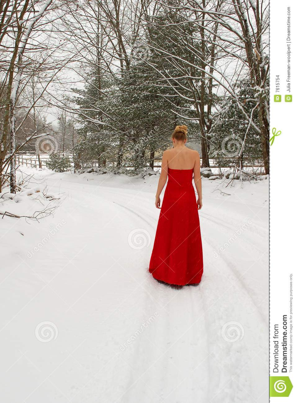 rotes kleid im schnee stockfoto bild von winter. Black Bedroom Furniture Sets. Home Design Ideas