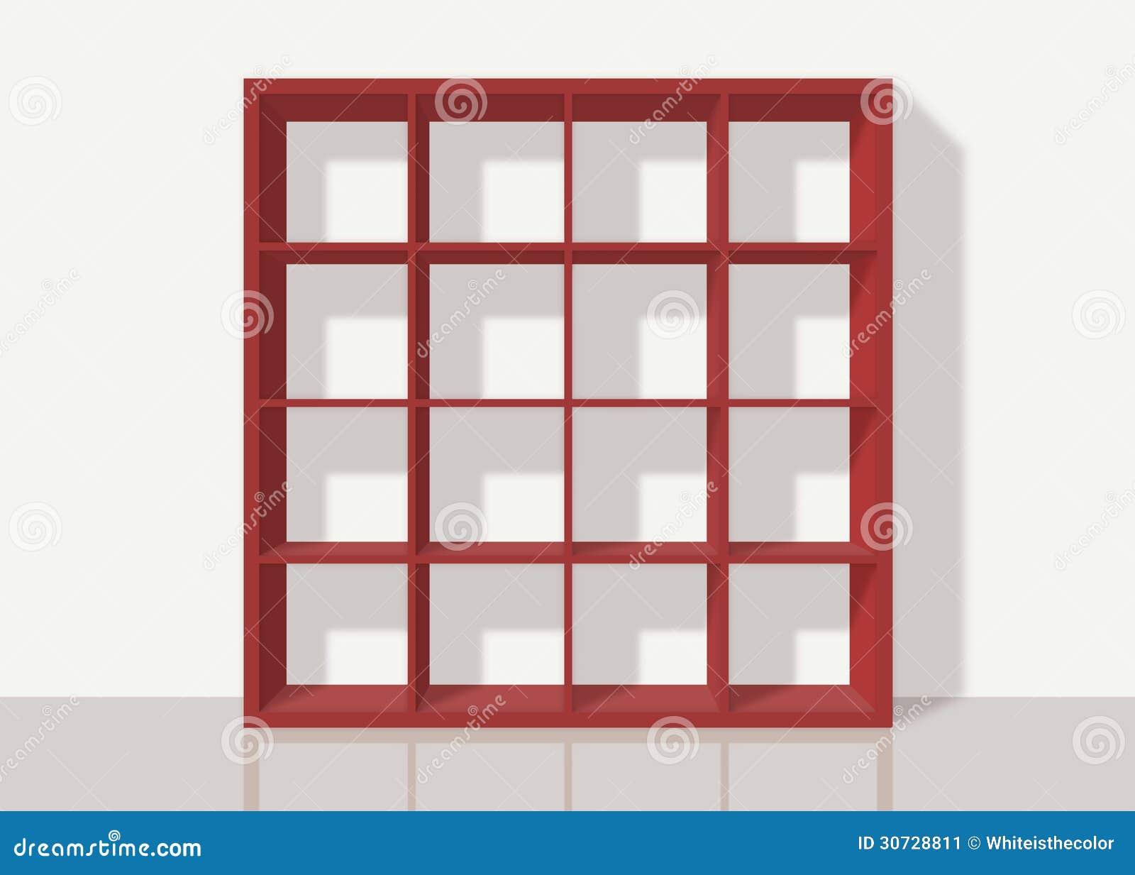 rotes leeres quadratisches b cherregal auf wei em wandhintergrund stockbild bild 30728811. Black Bedroom Furniture Sets. Home Design Ideas