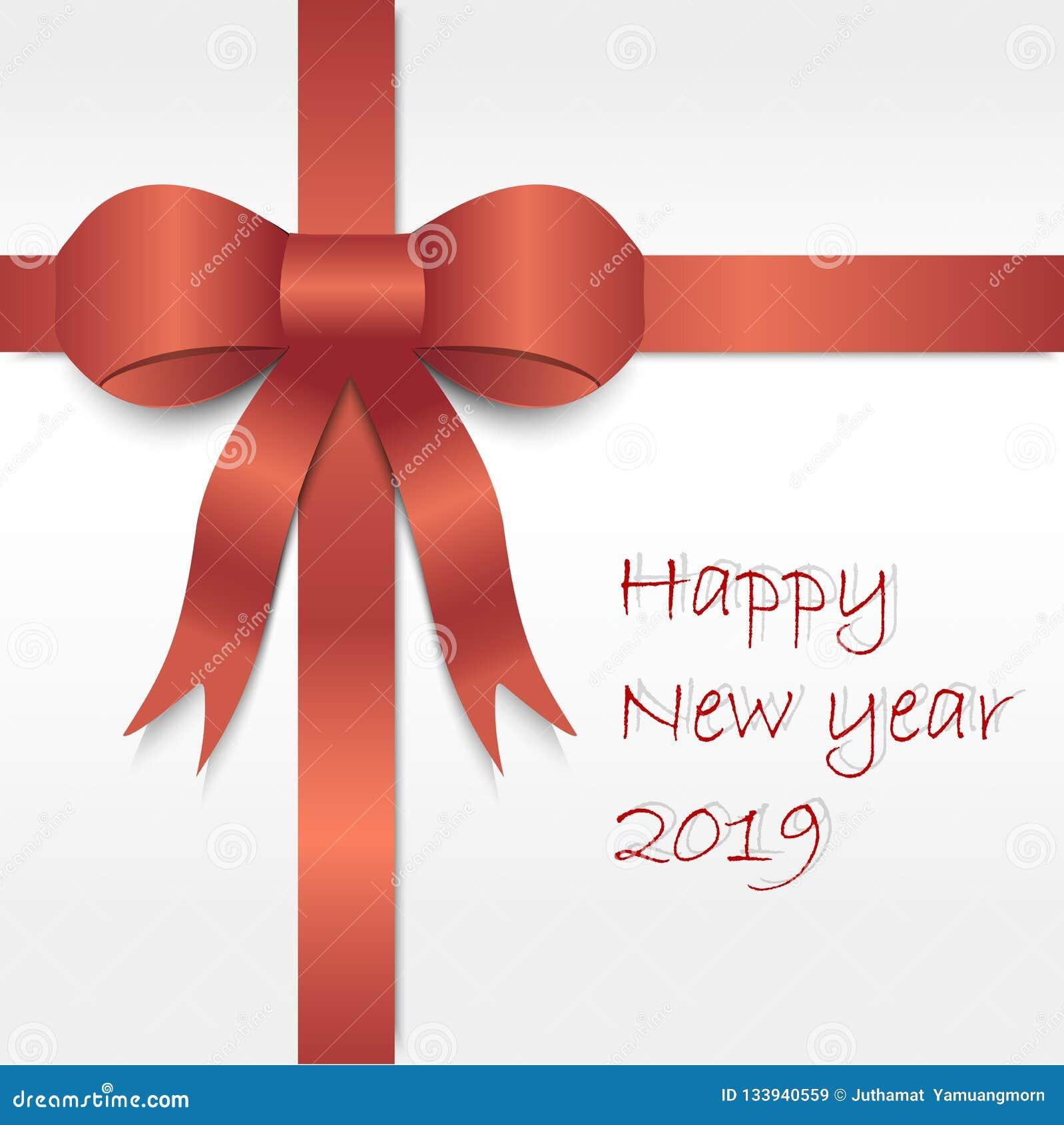 Rotes Satinluxusband auf weißem Hintergrund mit guten Rutsch ins Neue Jahr