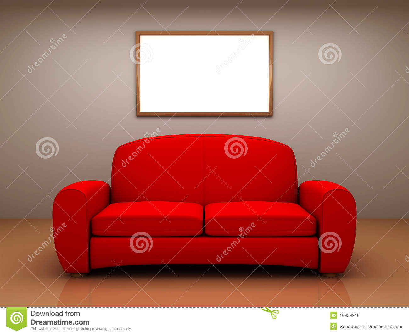 rotes sofa in einem raum mit einer unbelegten abbildung stock abbildung illustration von. Black Bedroom Furniture Sets. Home Design Ideas