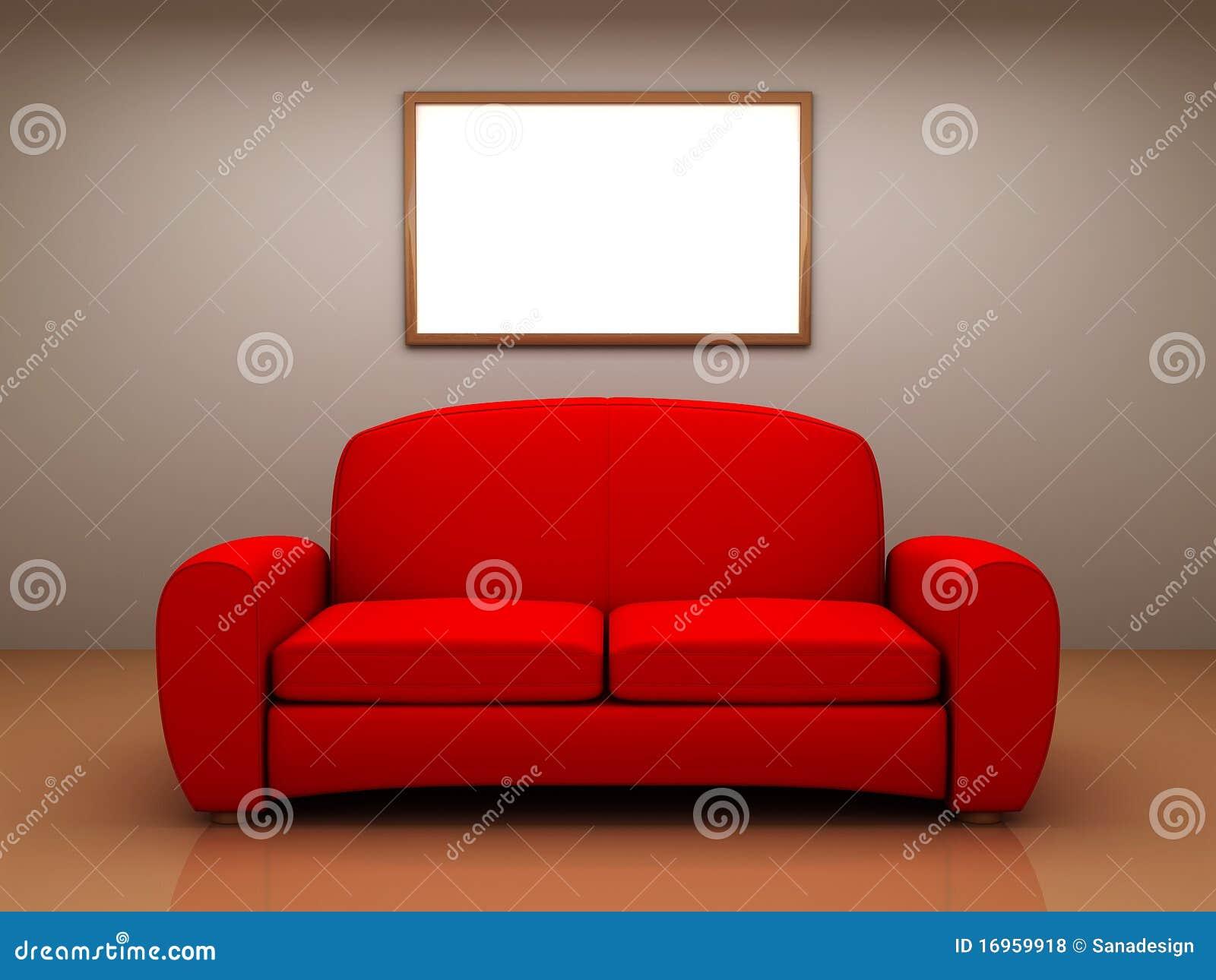 rotes sofa in einem raum mit einer unbelegten abbildung, Hause ideen