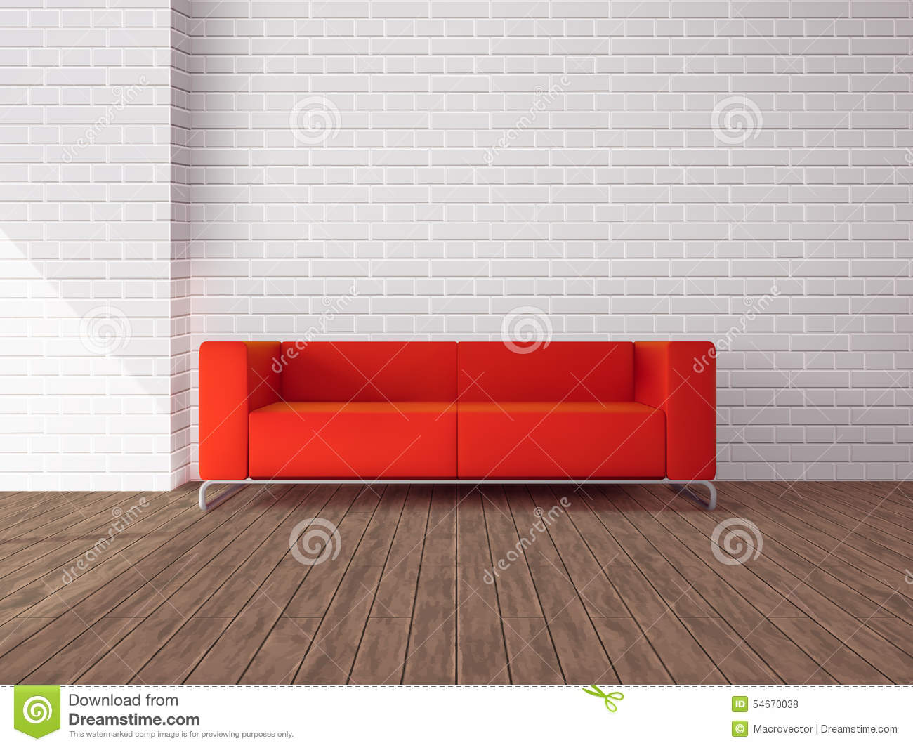 rotes sofa im raum vektor abbildung bild von dekorativ 54670038. Black Bedroom Furniture Sets. Home Design Ideas