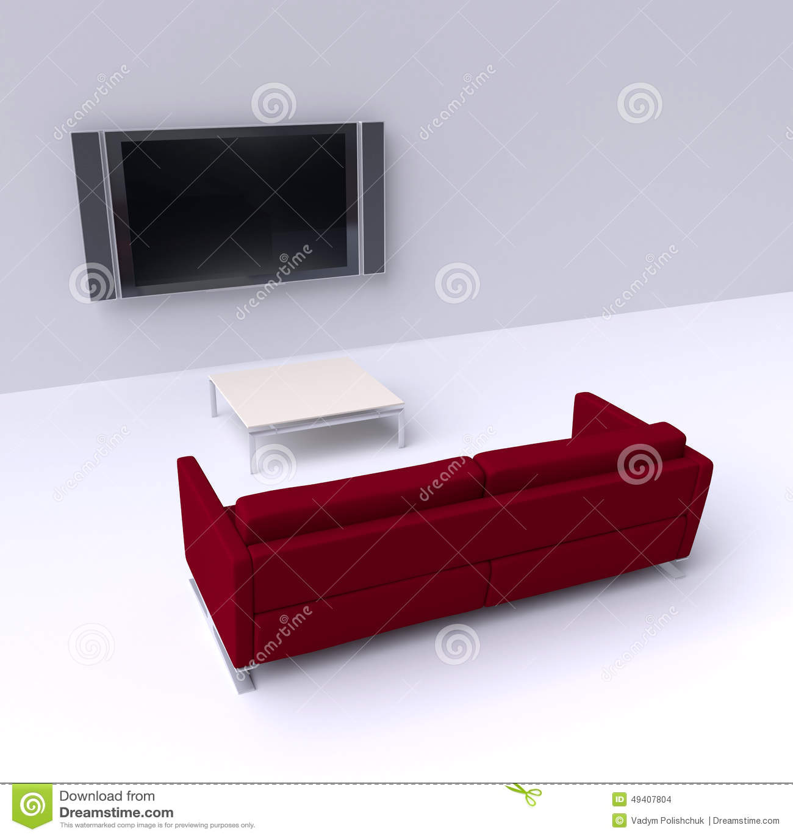 Download Rotes Sofa Mit Einem Flachbildschirm Fernsehen Auf Der Wand Stock Abbildung - Illustration von minimal, fashion: 49407804