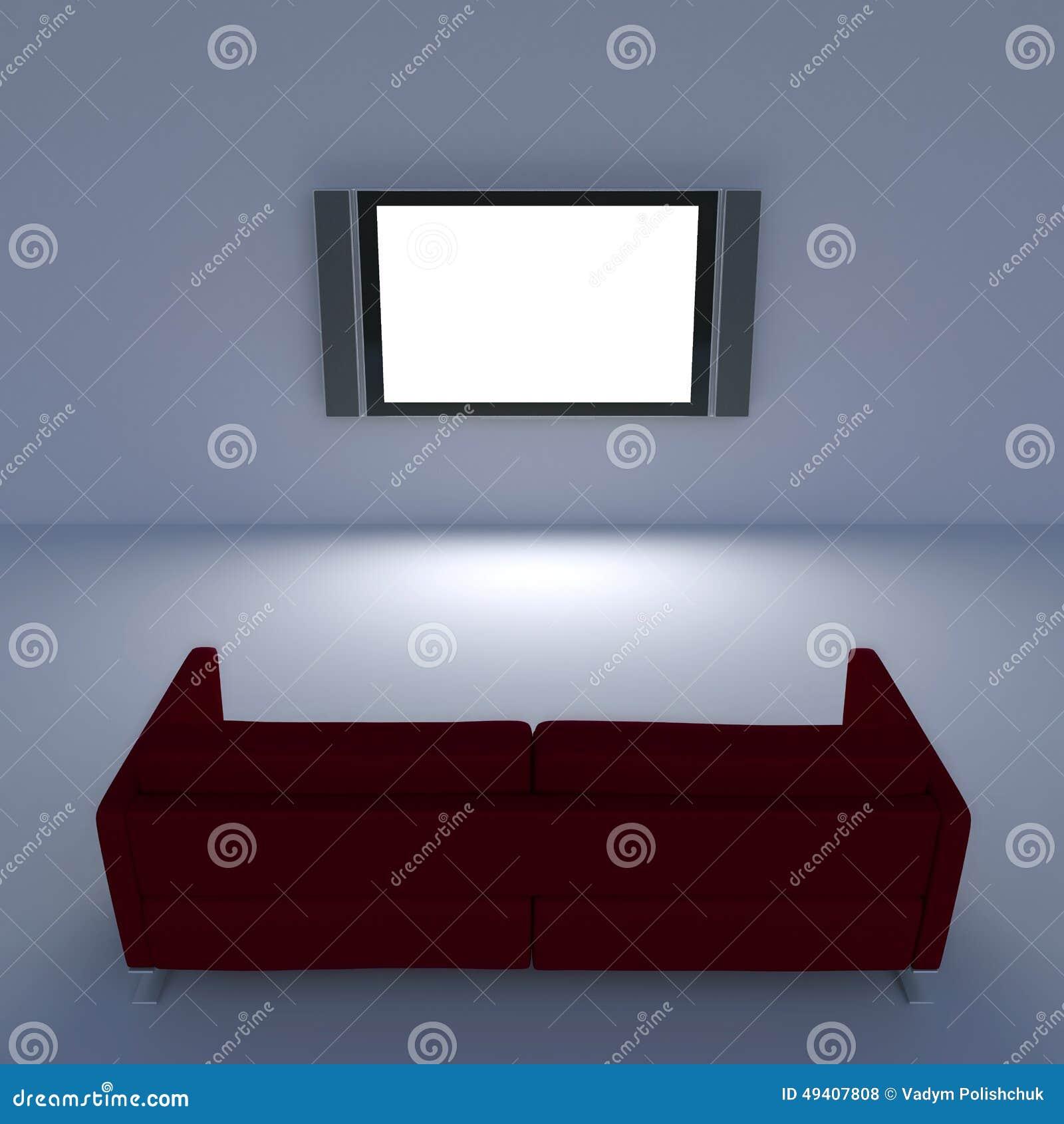 Download Rotes Sofa Mit Einem Flachbildschirm Fernsehen Auf Der Wand Stock Abbildung - Illustration von auszug, bildschirmanzeige: 49407808