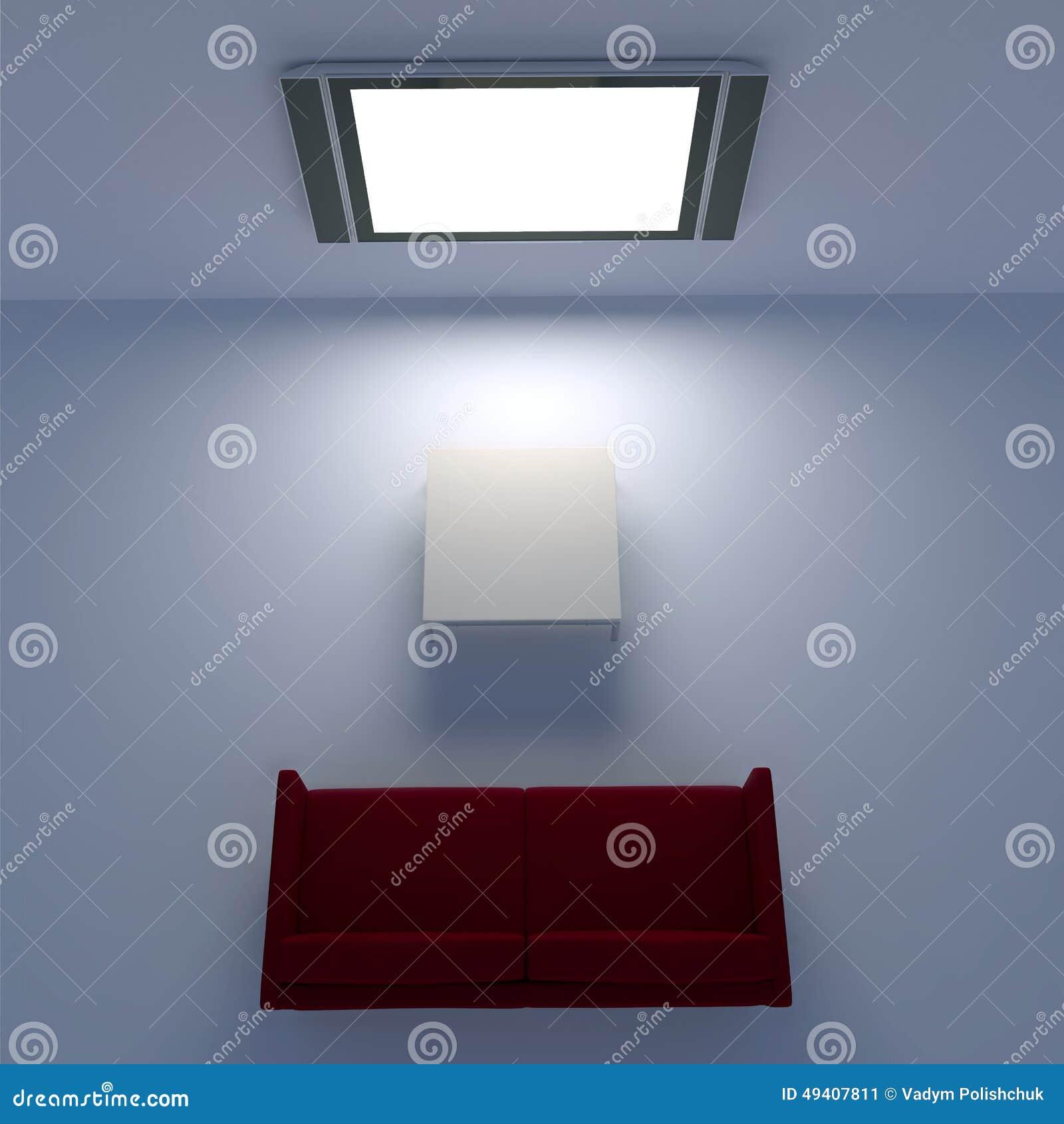 Download Rotes Sofa Mit Einem Flachbildschirm Fernsehen Auf Der Wand Stock Abbildung - Illustration von minimal, auszug: 49407811