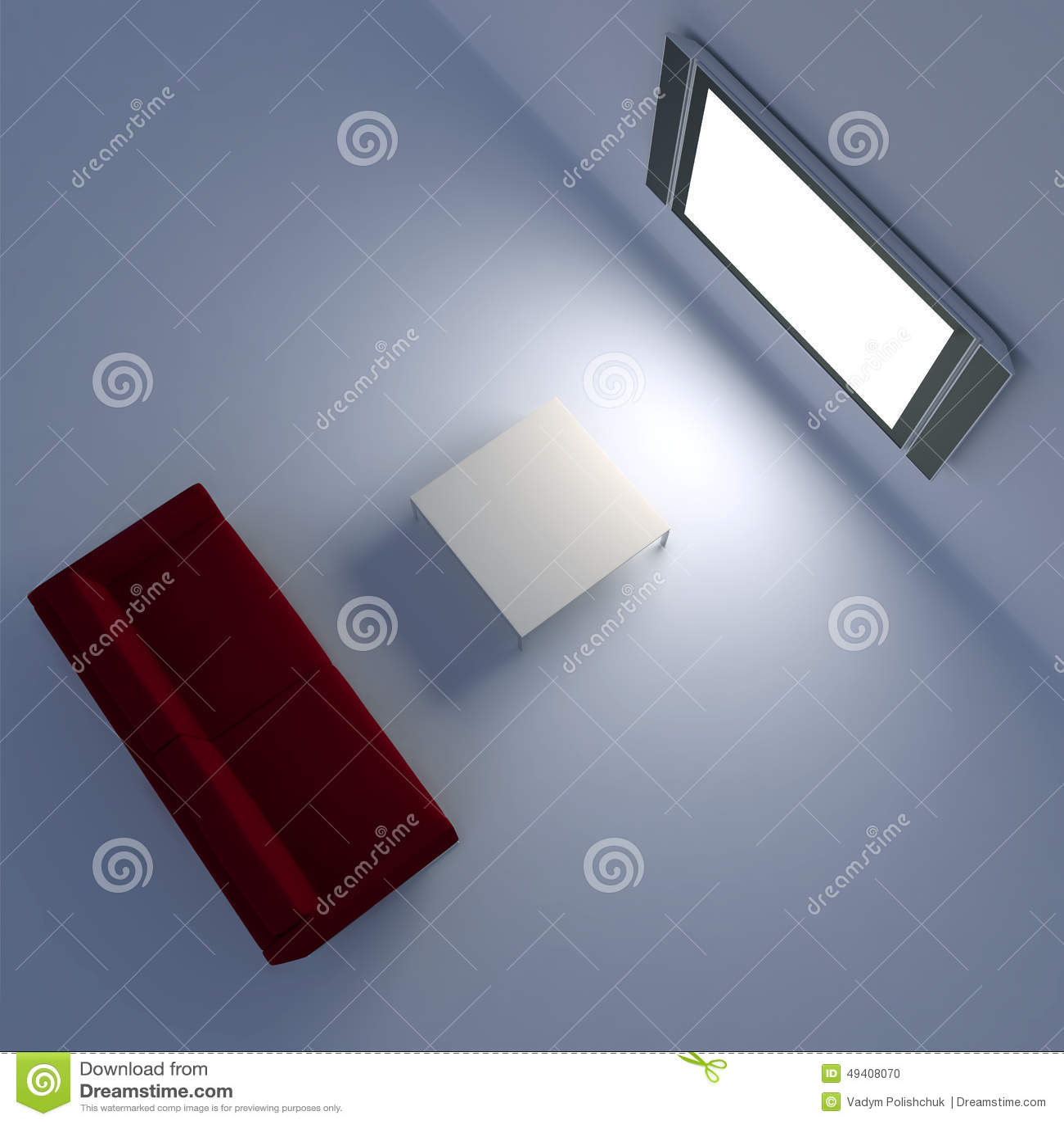 Download Rotes Sofa Mit Einem Flachbildschirm Fernsehen Auf Der Wand Stock Abbildung - Illustration von minimal, inländisch: 49408070