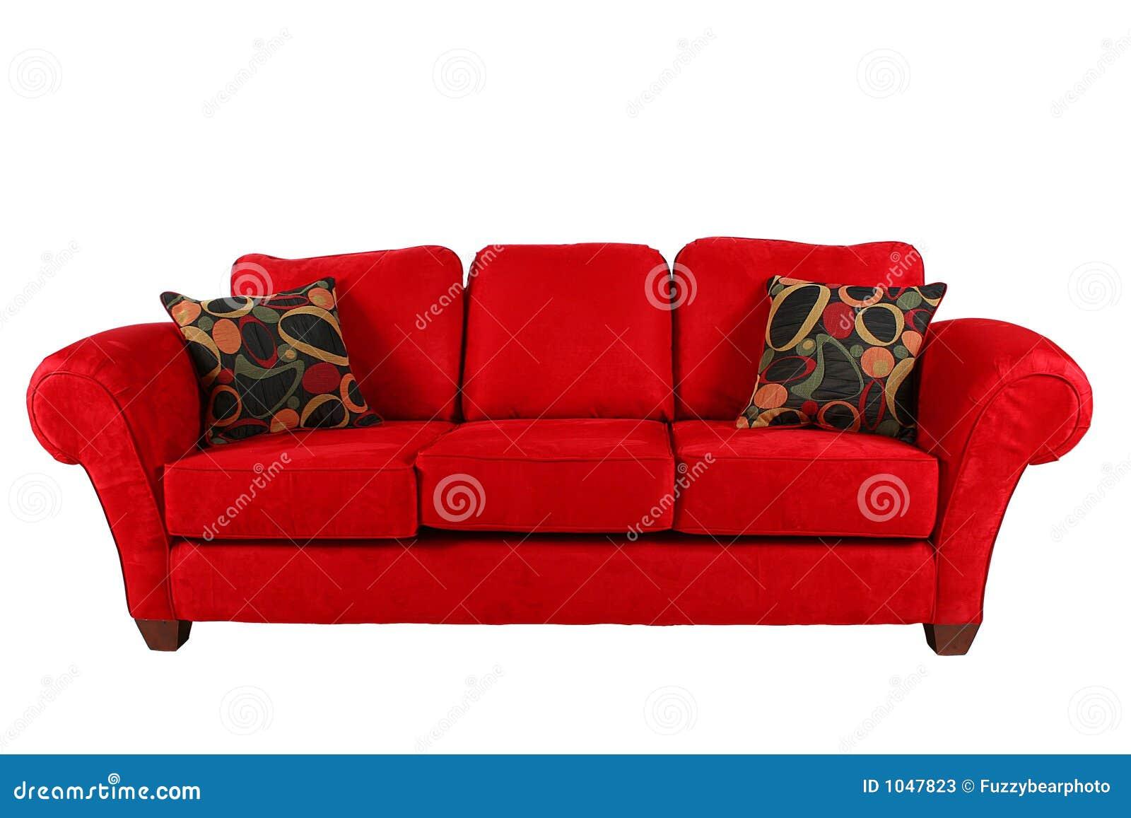 Rotes Sofa Mit Modernen Kissen Stockfotos Bild