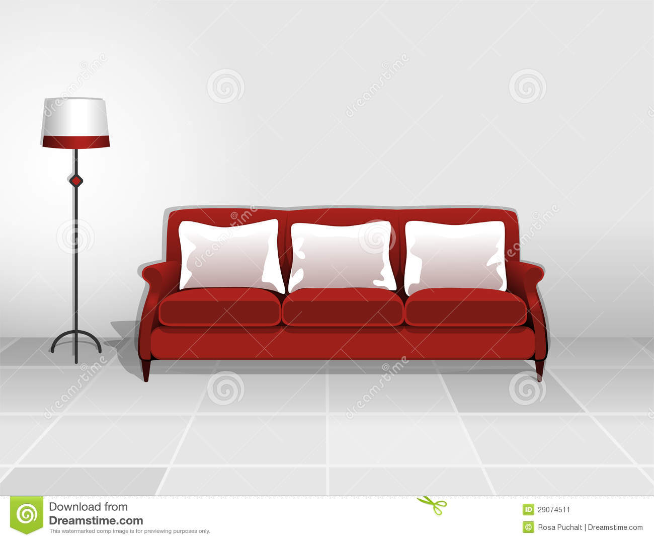 rotes sofa mit wei en kissen stockbild bild 29074511. Black Bedroom Furniture Sets. Home Design Ideas