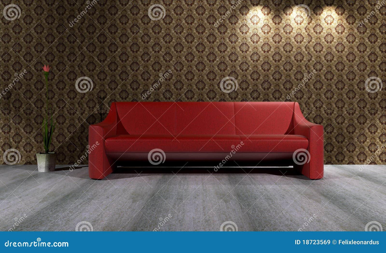 rotes sofa mit wiedergabe des tapeten-hintergrund-3d lizenzfreie, Hause ideen